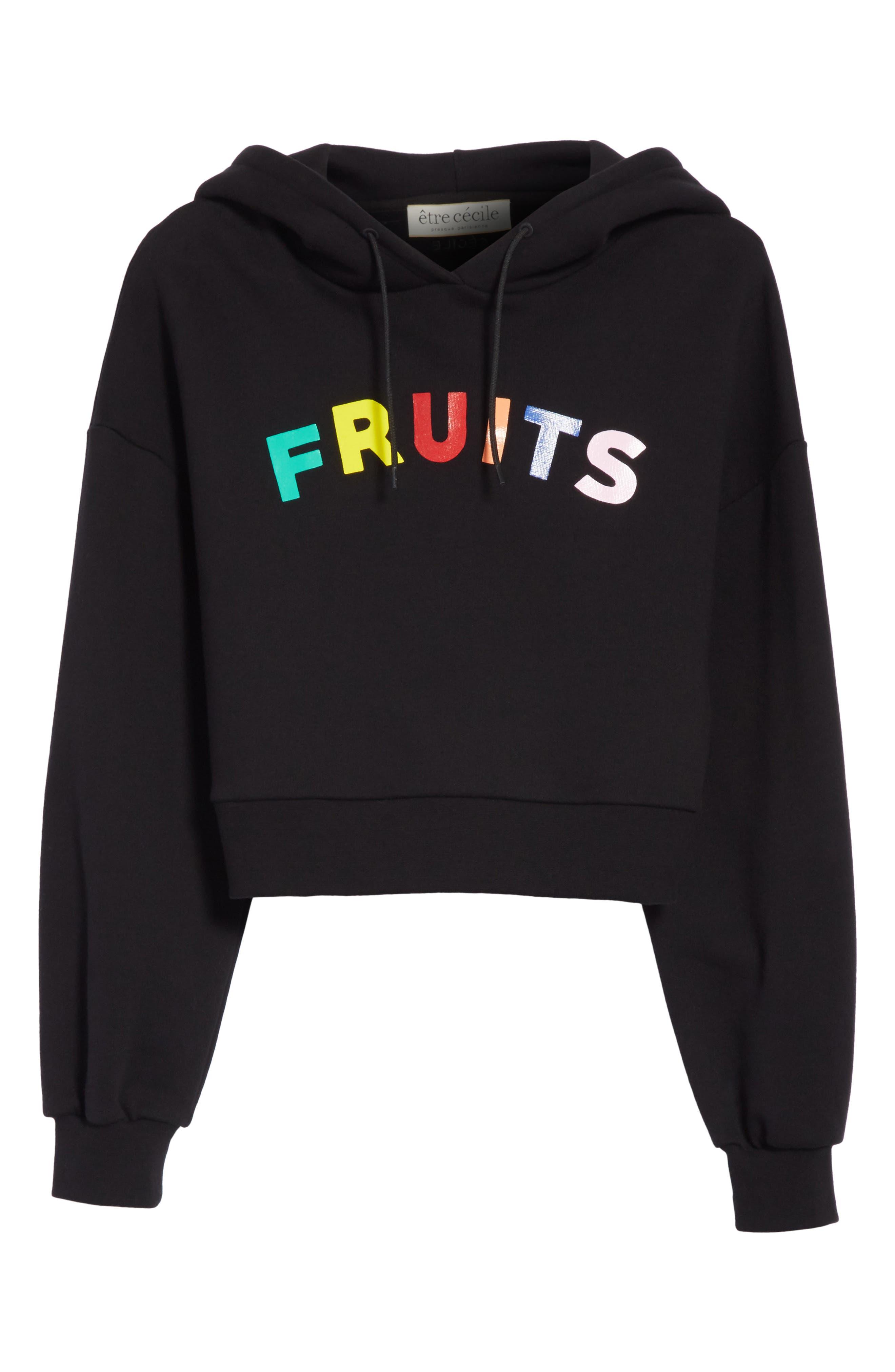 être cécile Fruits Crop Oversize Hoodie,                             Alternate thumbnail 6, color,                             001