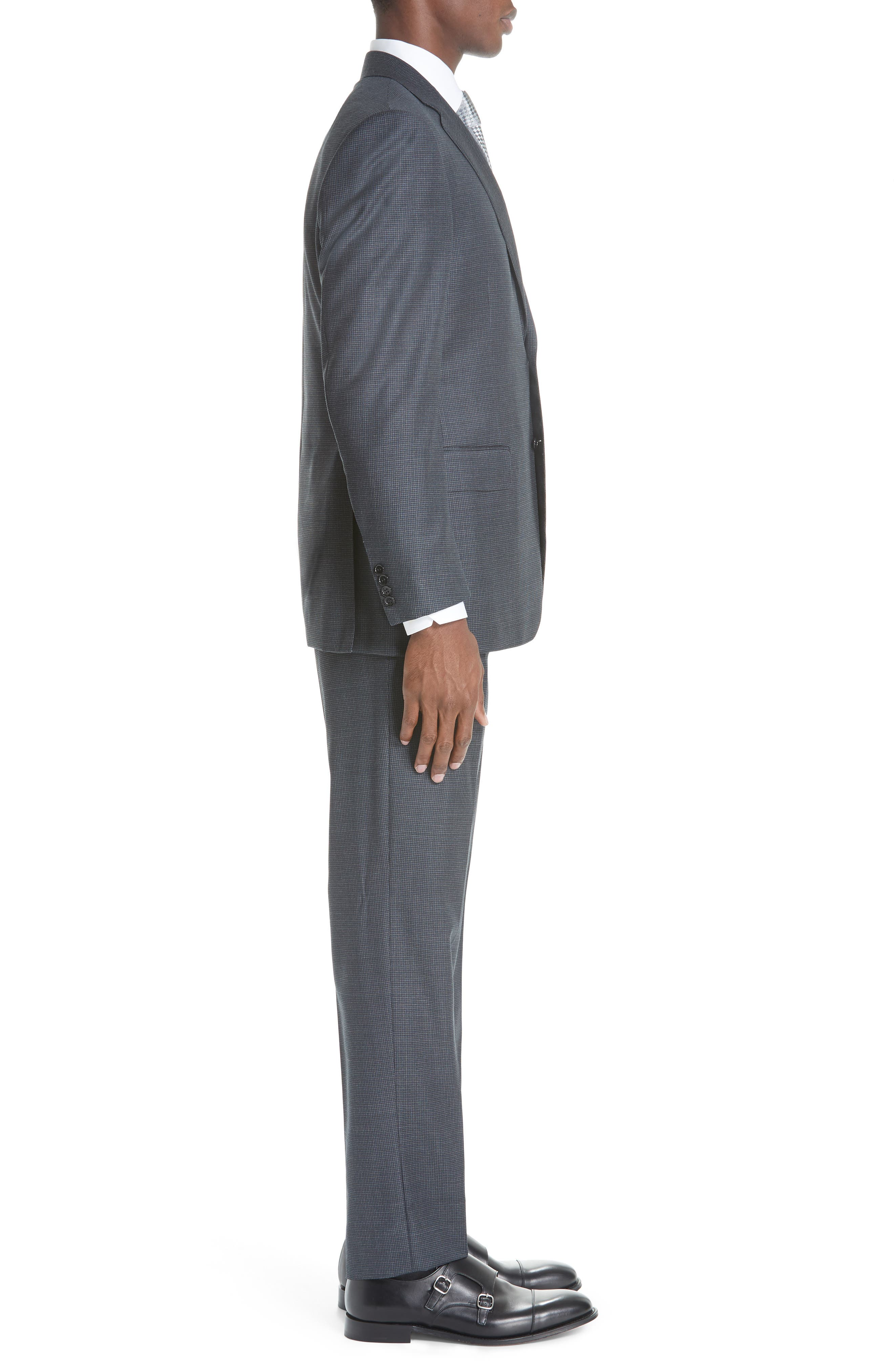 Classic Fit Houndstooth Wool Suit,                             Alternate thumbnail 3, color,                             DARK GREY