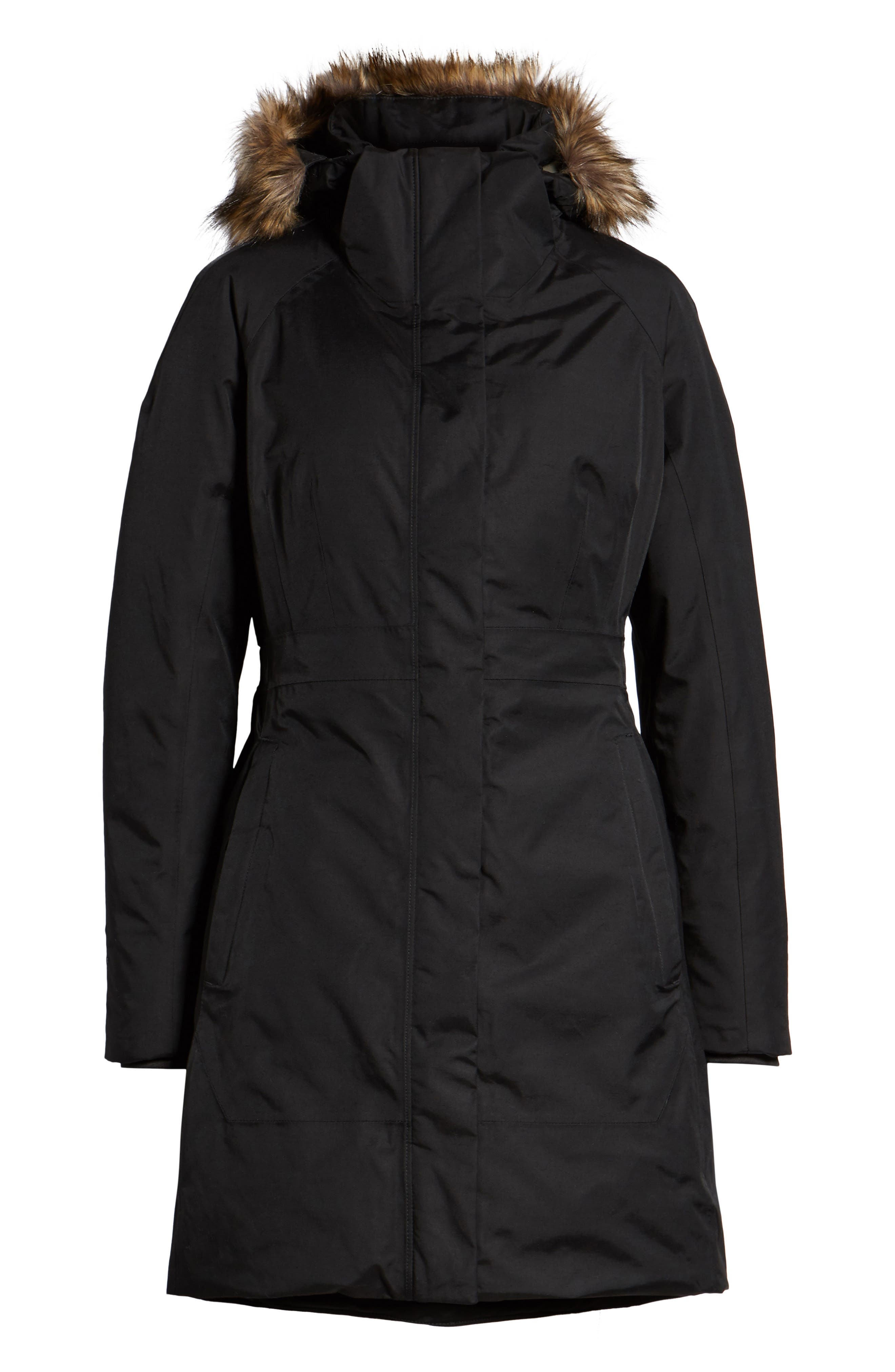 THE NORTH FACE,                             Arctic II Waterproof 550 Fill Power Down Parka with Faux Fur Trim,                             Alternate thumbnail 6, color,                             001