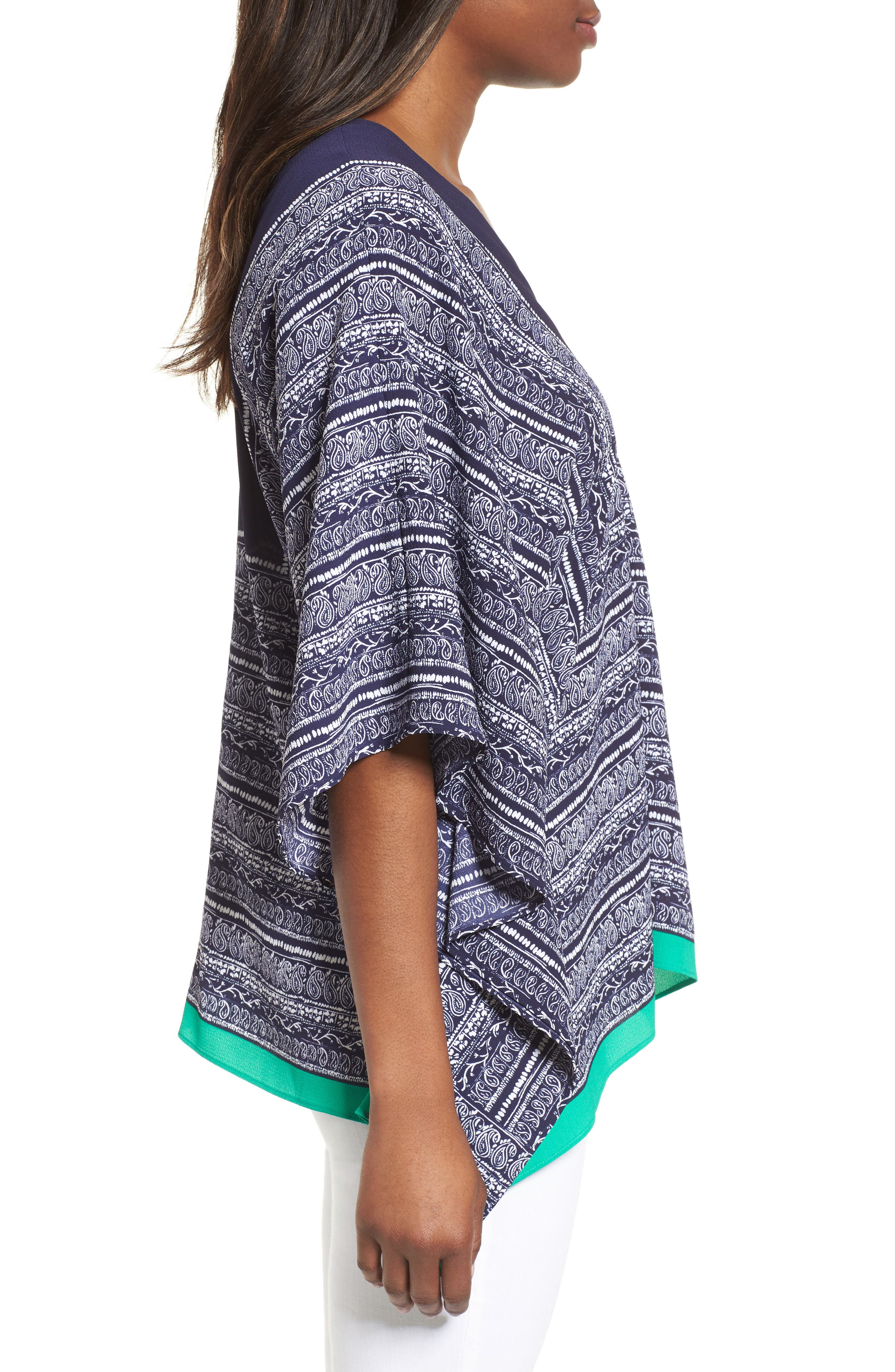 Paisley Scarf Poncho Top,                             Alternate thumbnail 3, color,                             EVENING NAVY