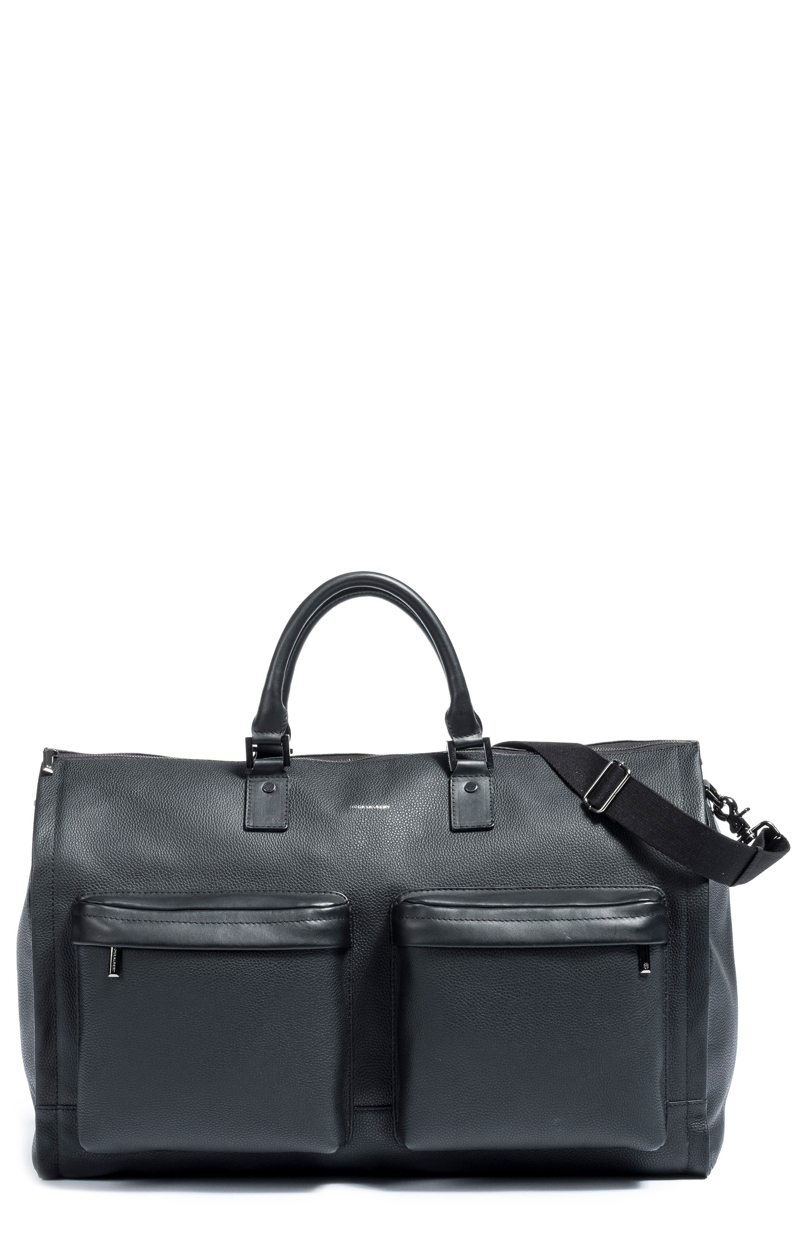 Leather Garment Bag,                             Main thumbnail 1, color,                             BLACK
