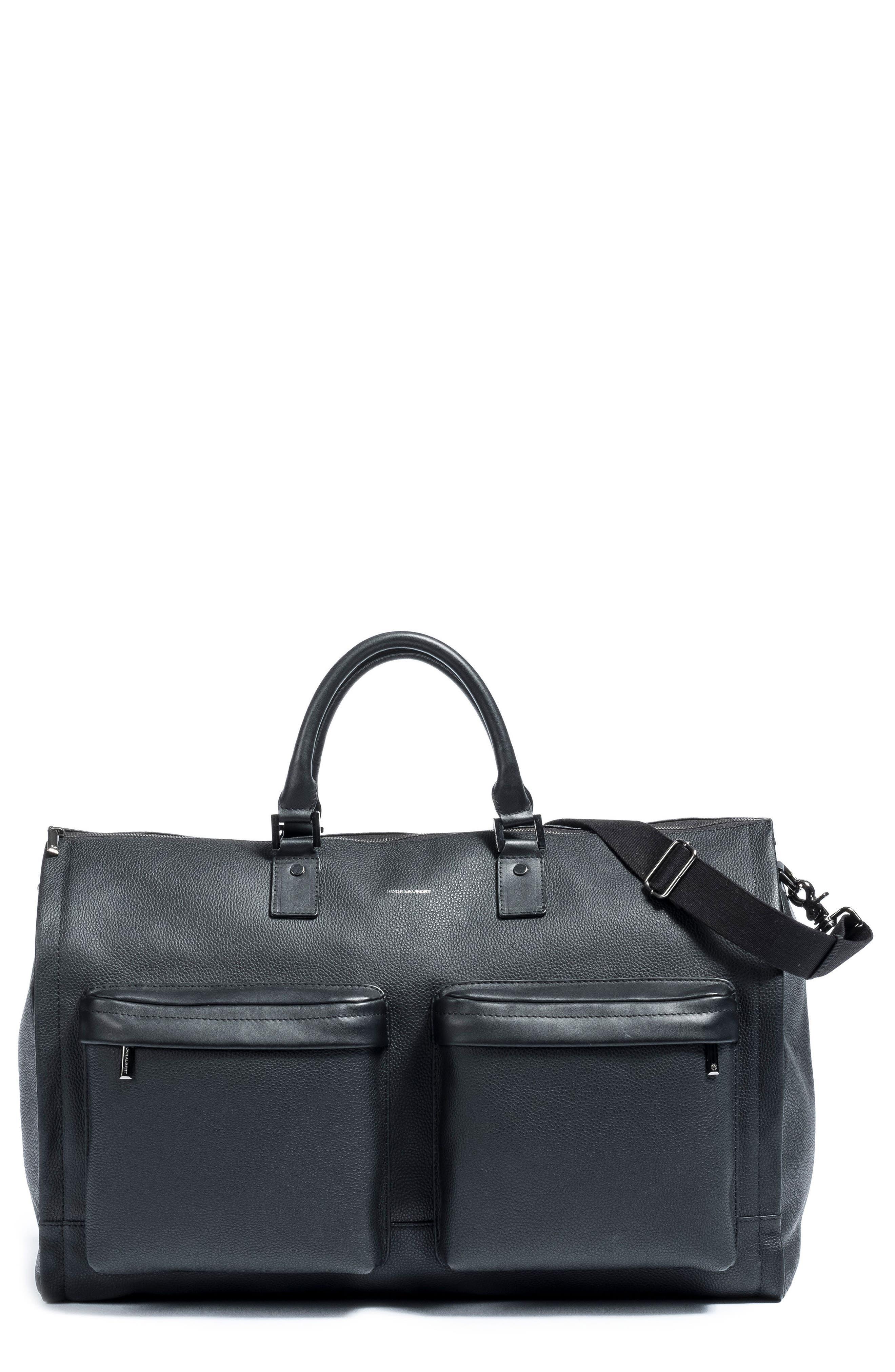 Leather Garment Bag,                         Main,                         color, BLACK