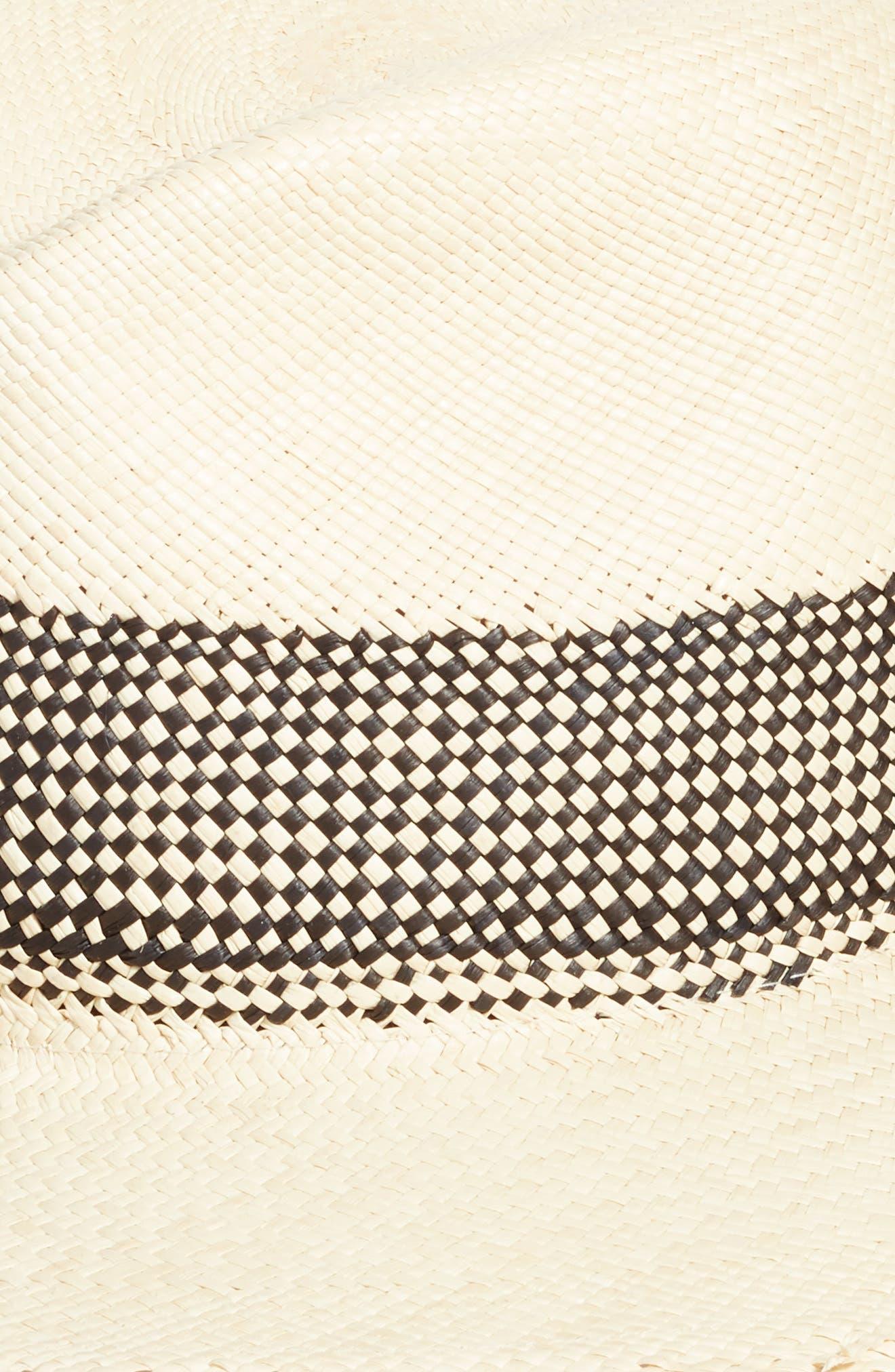 Frayed Edge Panama Straw Hat,                             Alternate thumbnail 2, color,                             BLACK MULTI