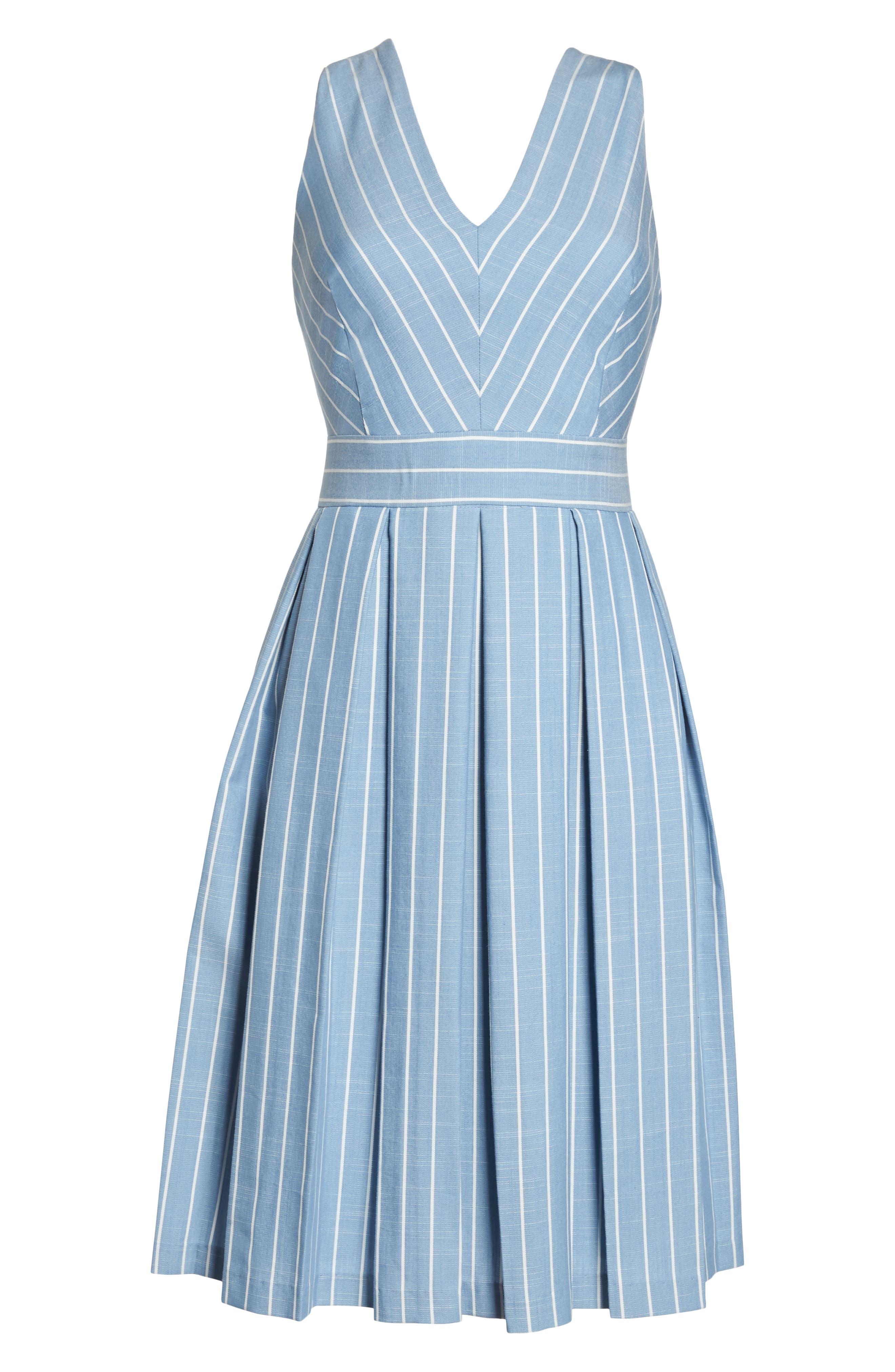 Samantha Slub Stripe Fit & Flare Dress,                             Alternate thumbnail 8, color,                             460
