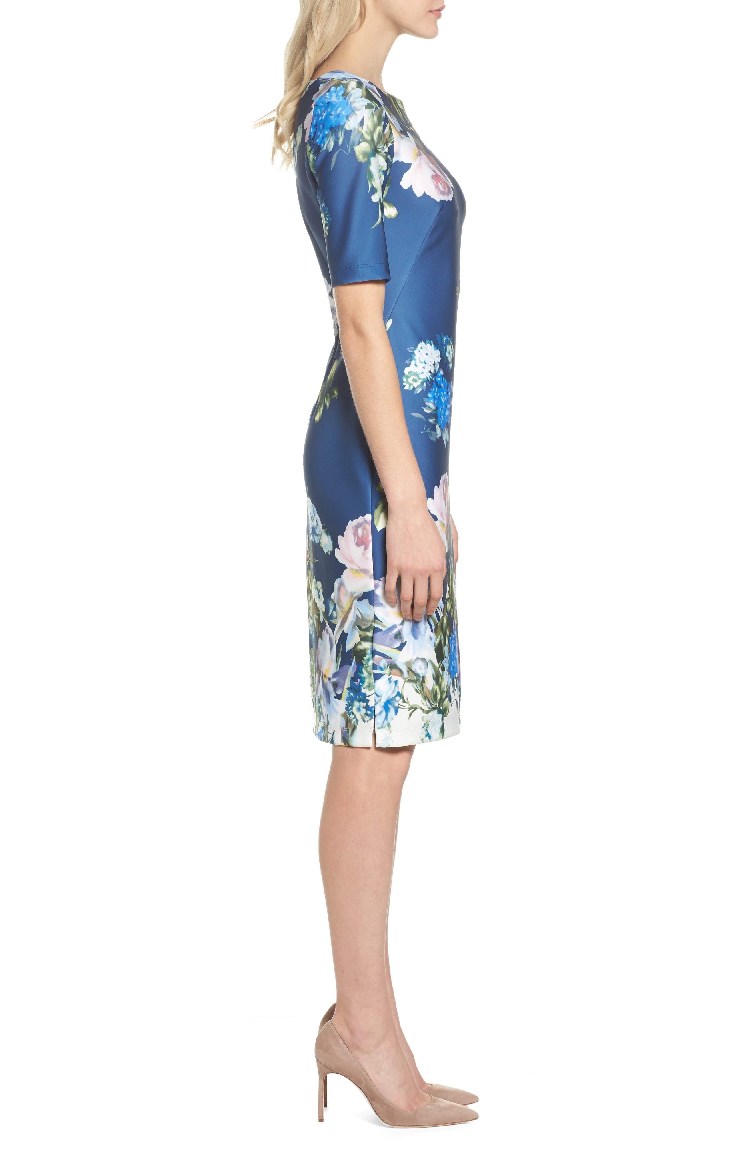 Gabby Skype Scuba Sheath Dress,                             Alternate thumbnail 3, color,                             410
