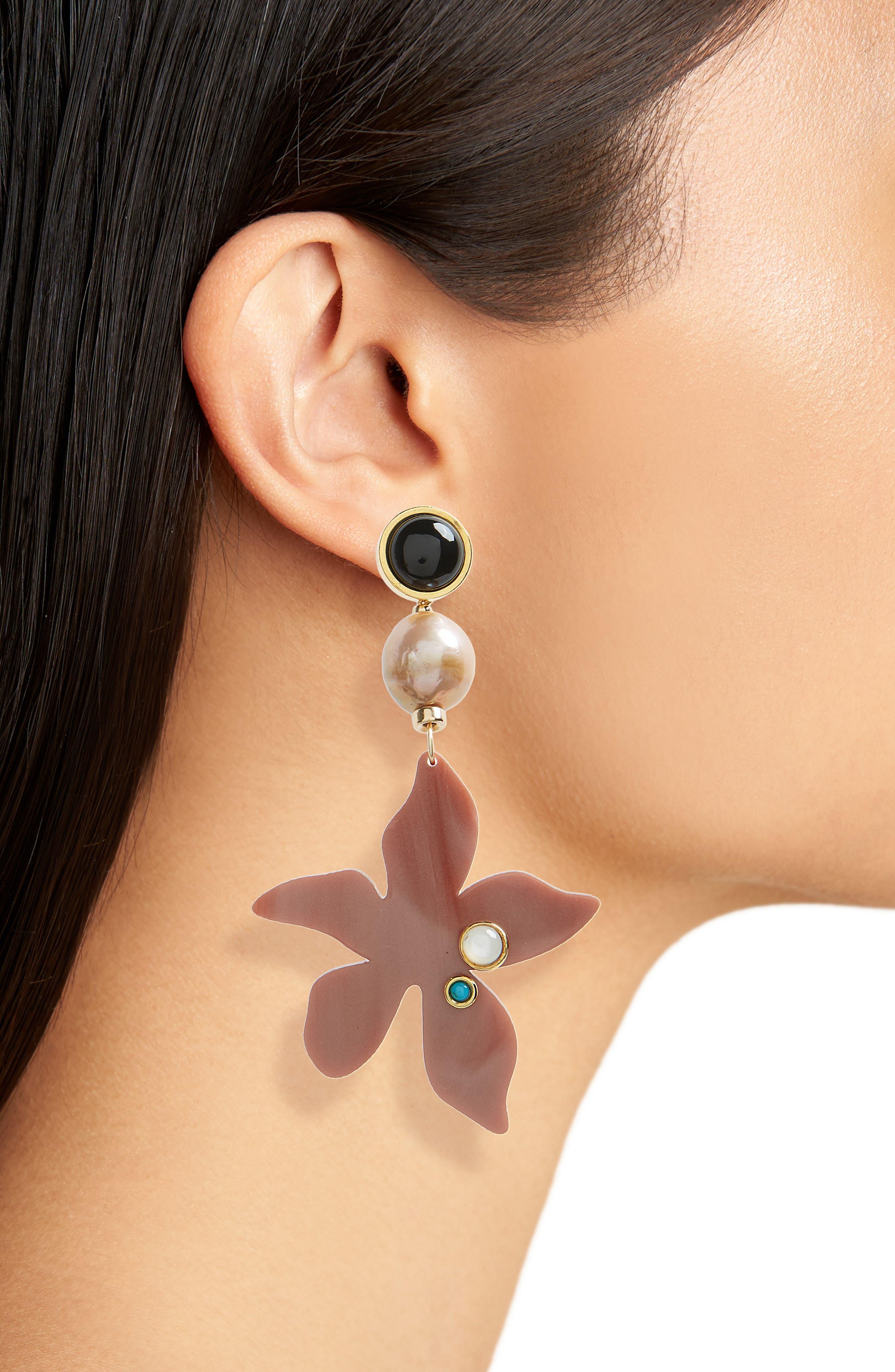 Portugal Poppy Drop Earrings,                             Alternate thumbnail 2, color,