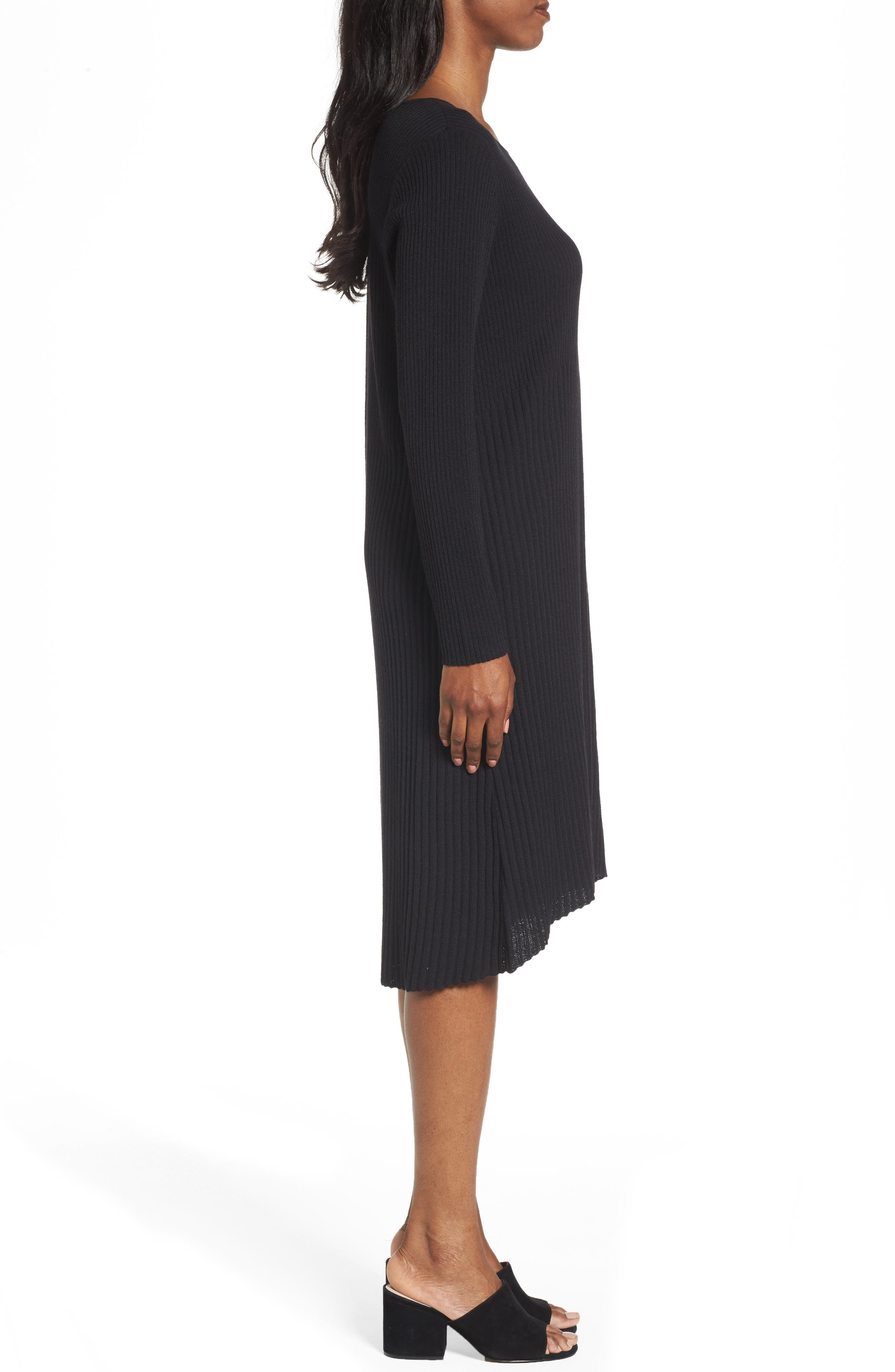 Ribbed Wool Sweater Dress,                             Alternate thumbnail 3, color,                             001