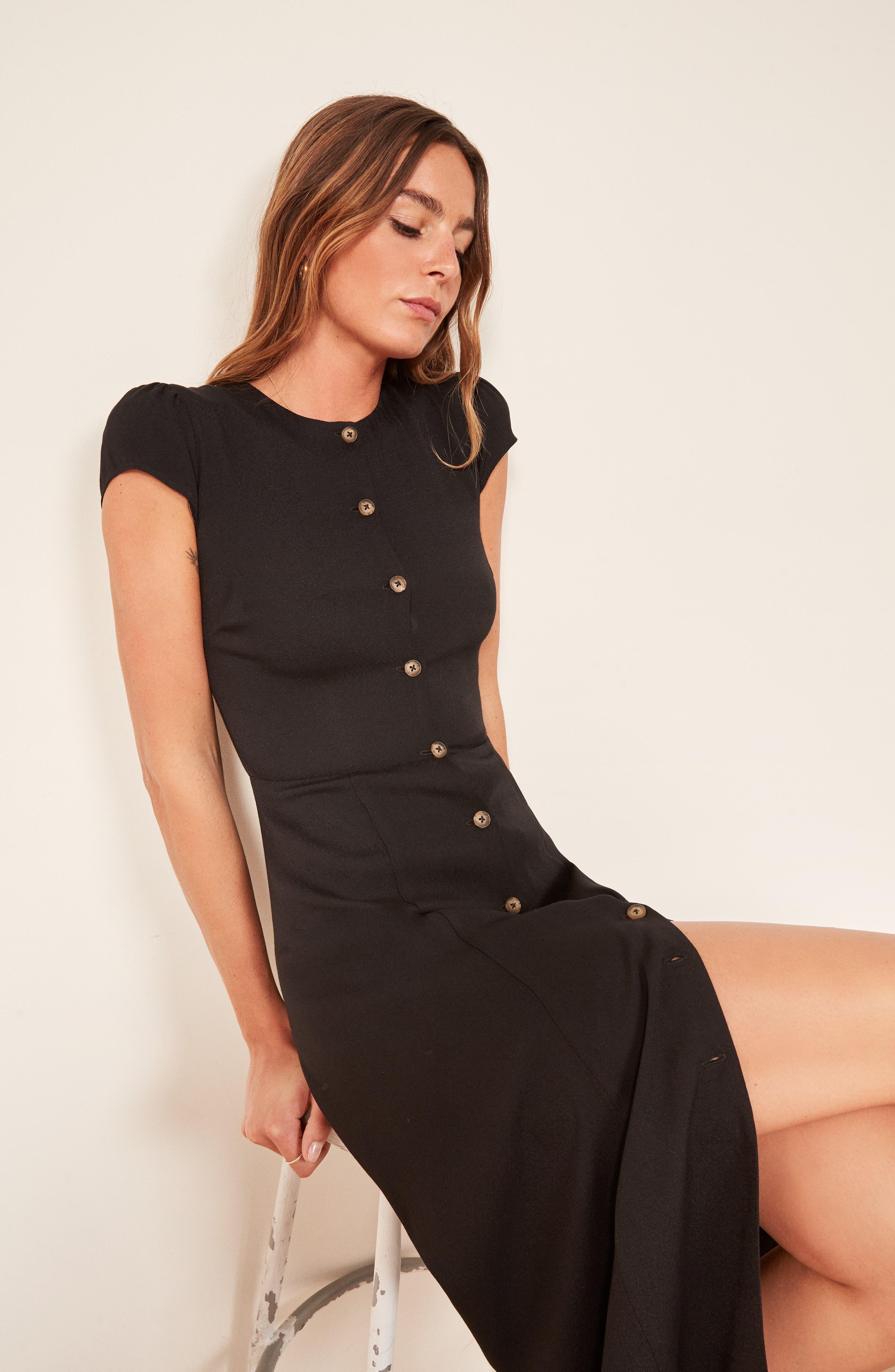 Fauna Front Button Midi Dress,                             Alternate thumbnail 2, color,                             BLACK