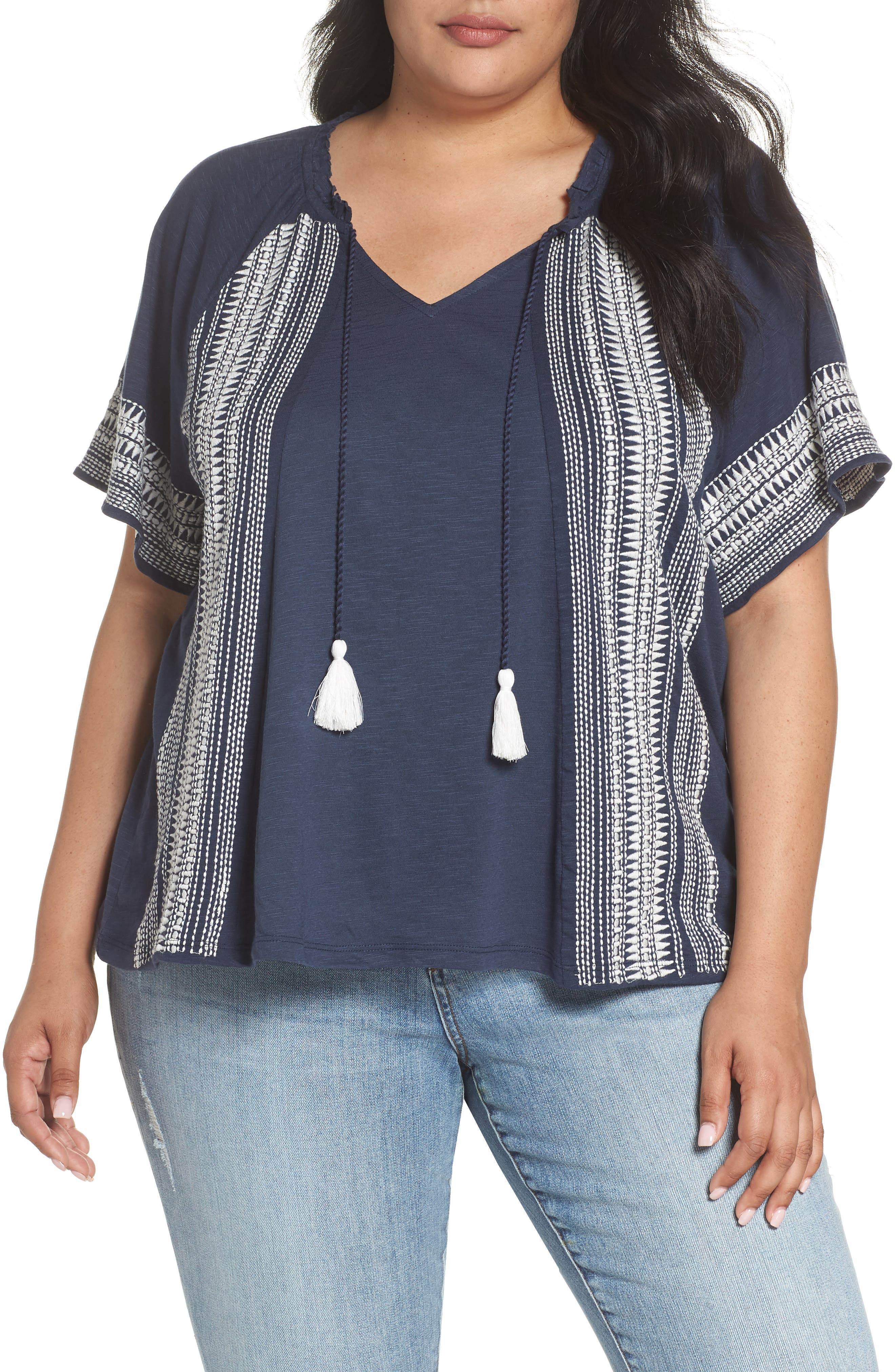 Embroidered Border Peasant Top,                             Main thumbnail 1, color,                             410