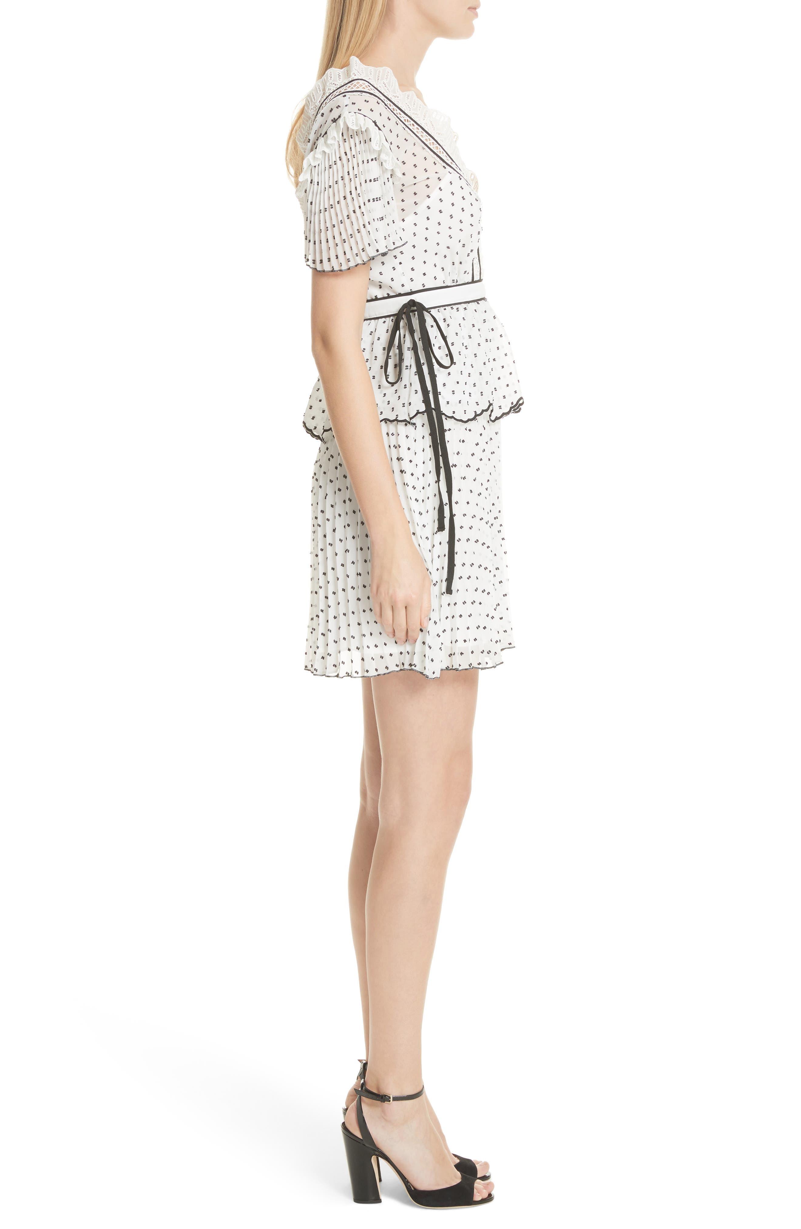 Pleated Plumetis Dress,                             Alternate thumbnail 3, color,                             100