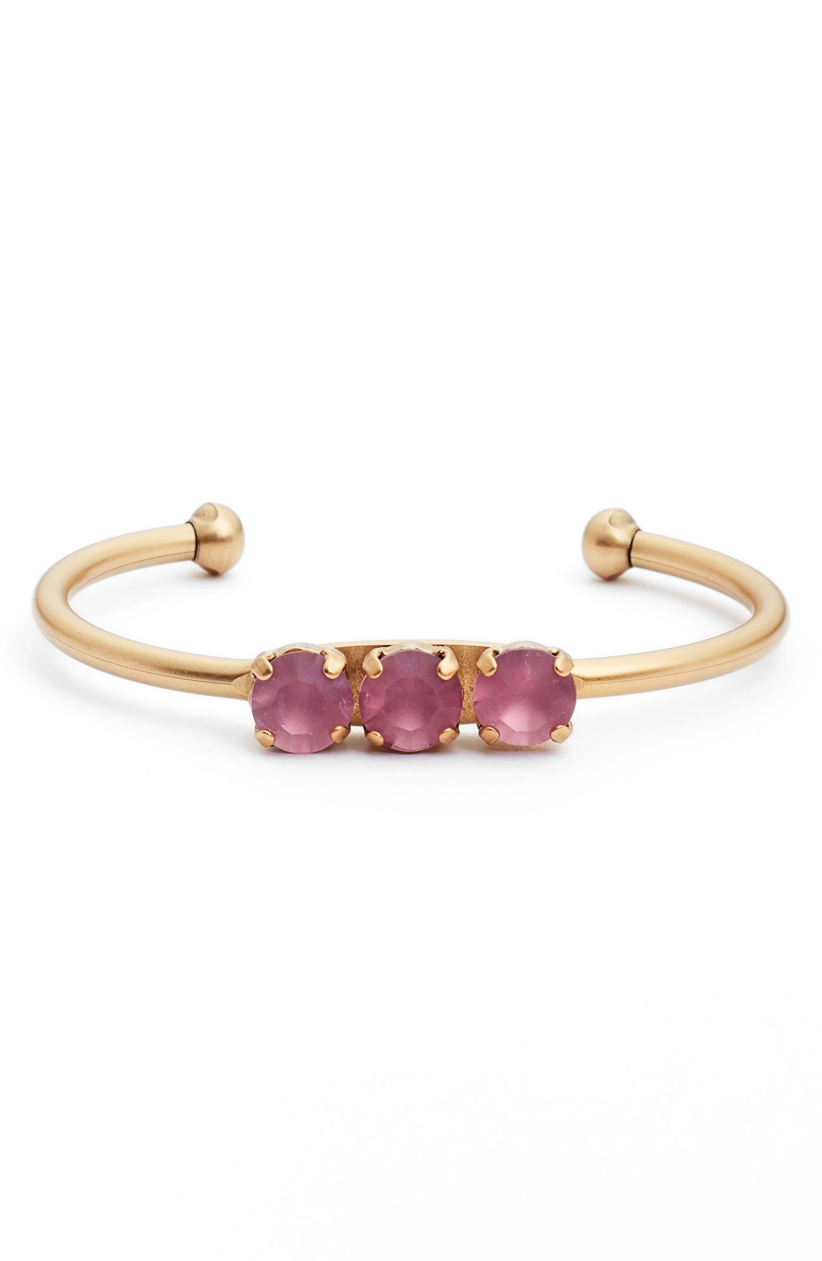 Rosalie Crystal Cuff Bracelet,                             Main thumbnail 1, color,                             ORCHID