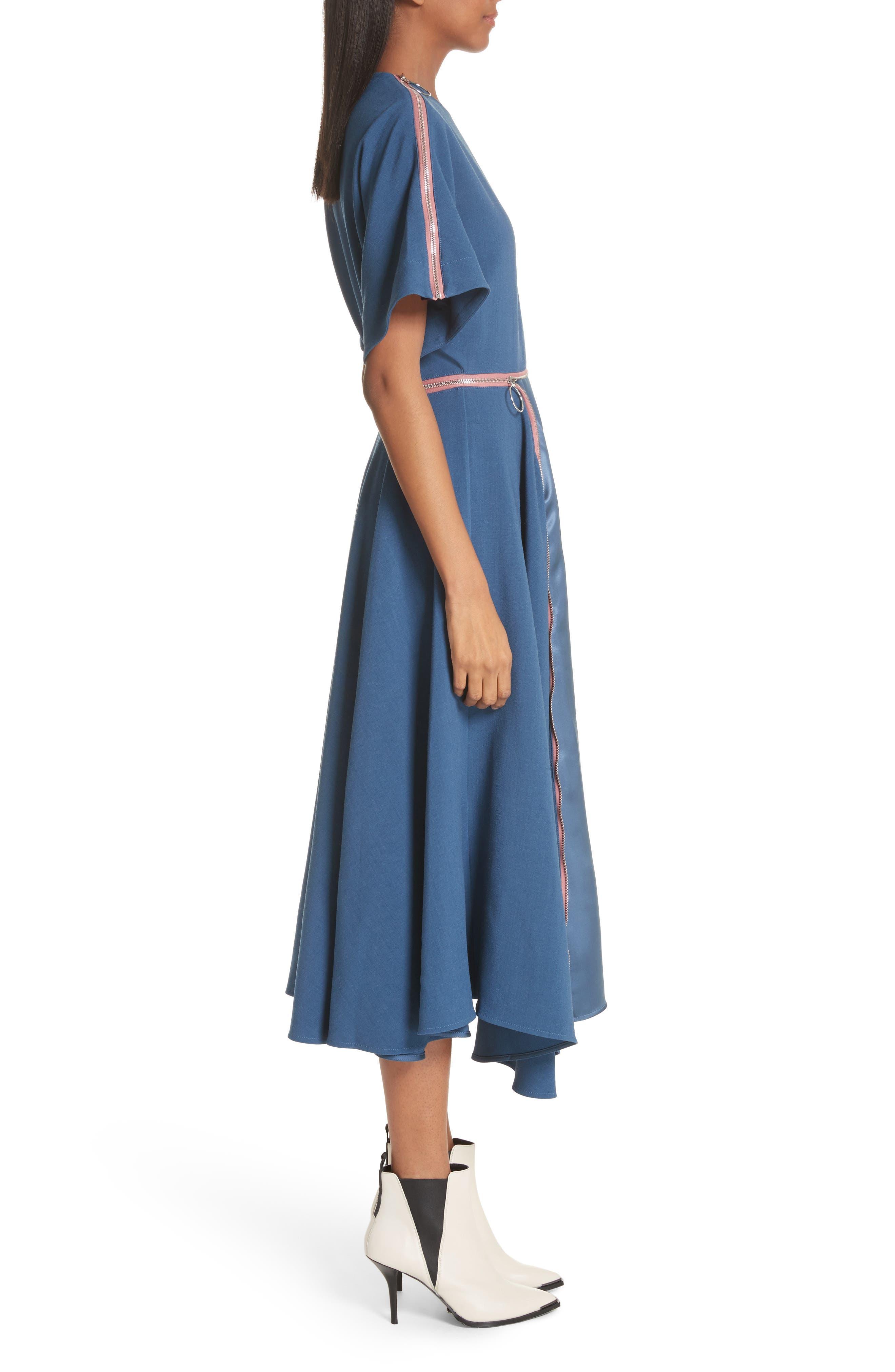 Gianna Asymmetrical Satin Dress,                             Alternate thumbnail 3, color,                             400