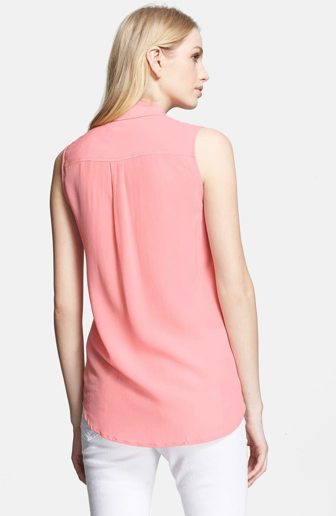 'Slim Signature' Sleeveless Silk Shirt,                             Alternate thumbnail 136, color,