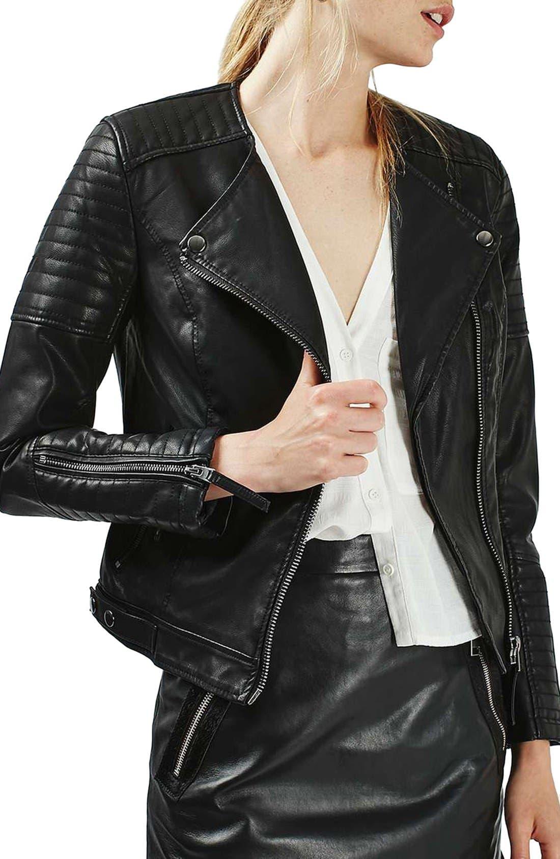 TOPSHOP,                             Nelly Faux Leather Biker Jacket,                             Main thumbnail 1, color,                             001