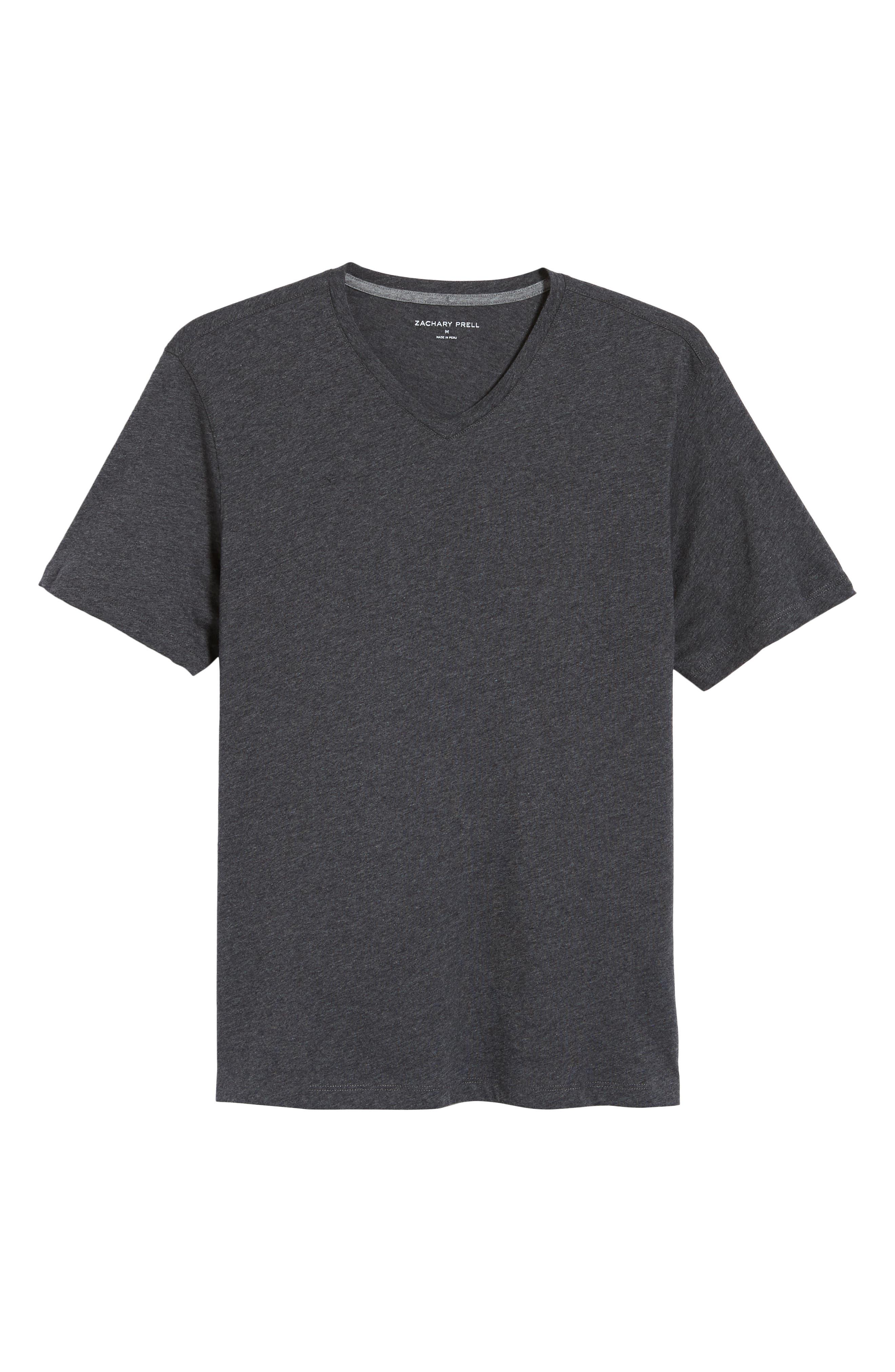 Mercer V-Neck T-Shirt,                             Alternate thumbnail 6, color,                             DARK HEATHER CHARCOAL