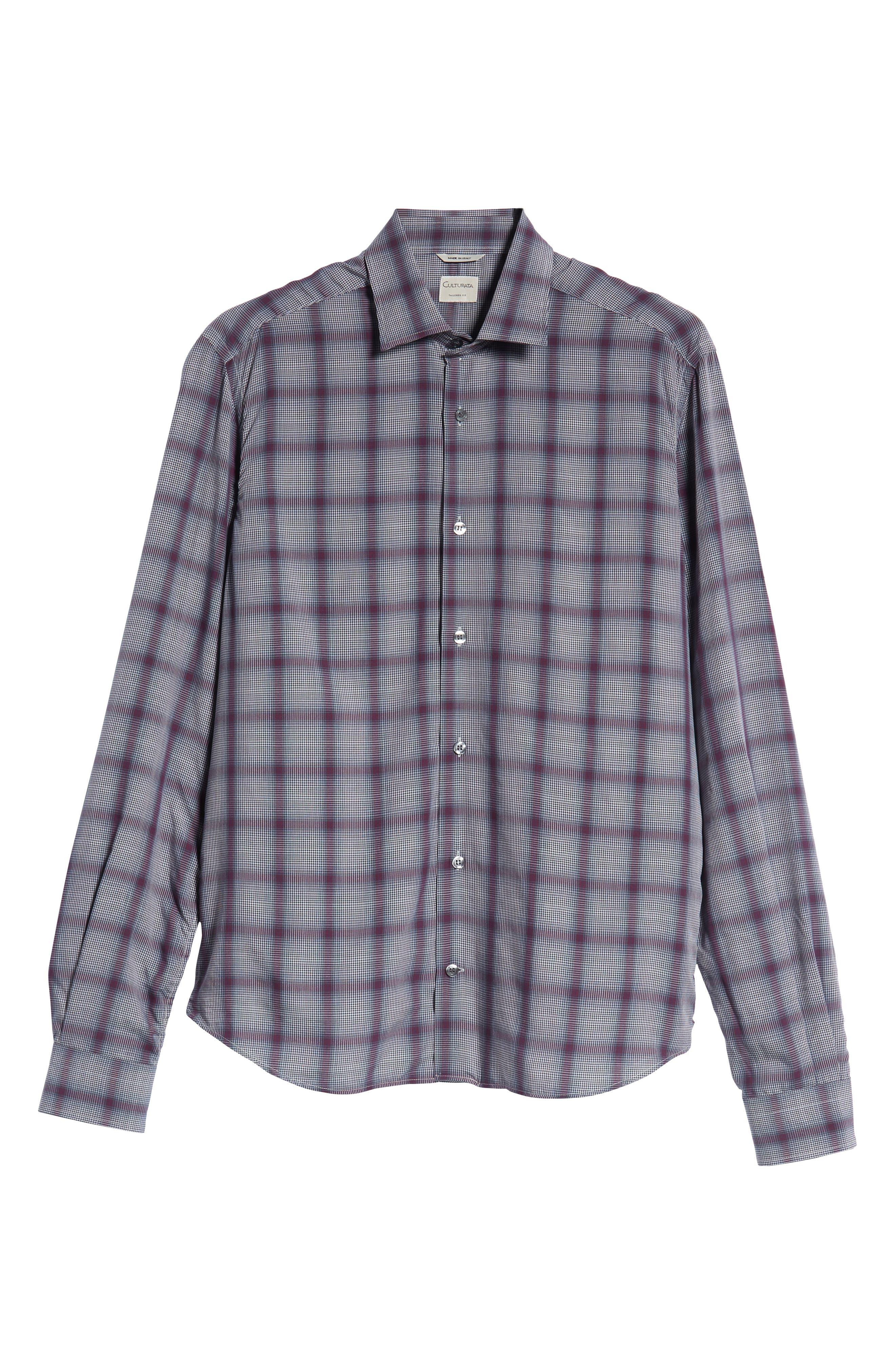 Tailored Fit Plaid Sport Shirt,                             Alternate thumbnail 5, color,                             600