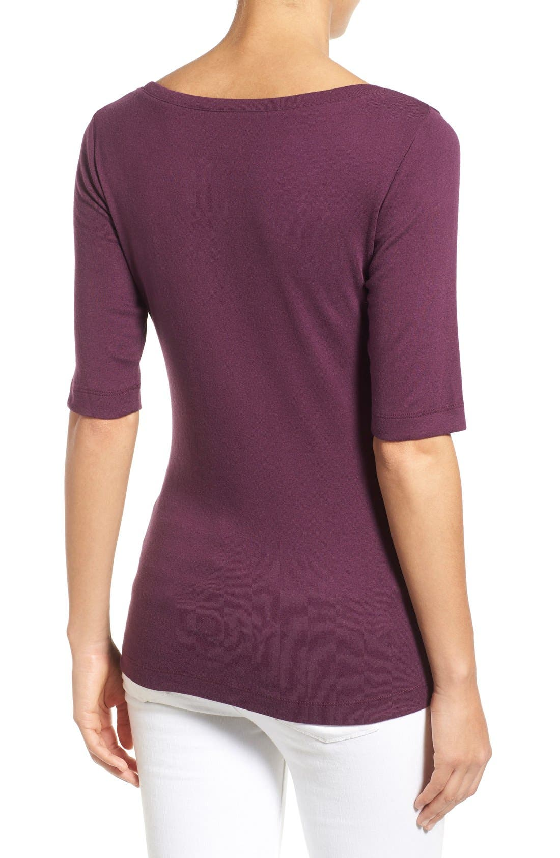 Ballet Neck Cotton & Modal Knit Elbow Sleeve Tee,                             Alternate thumbnail 251, color,