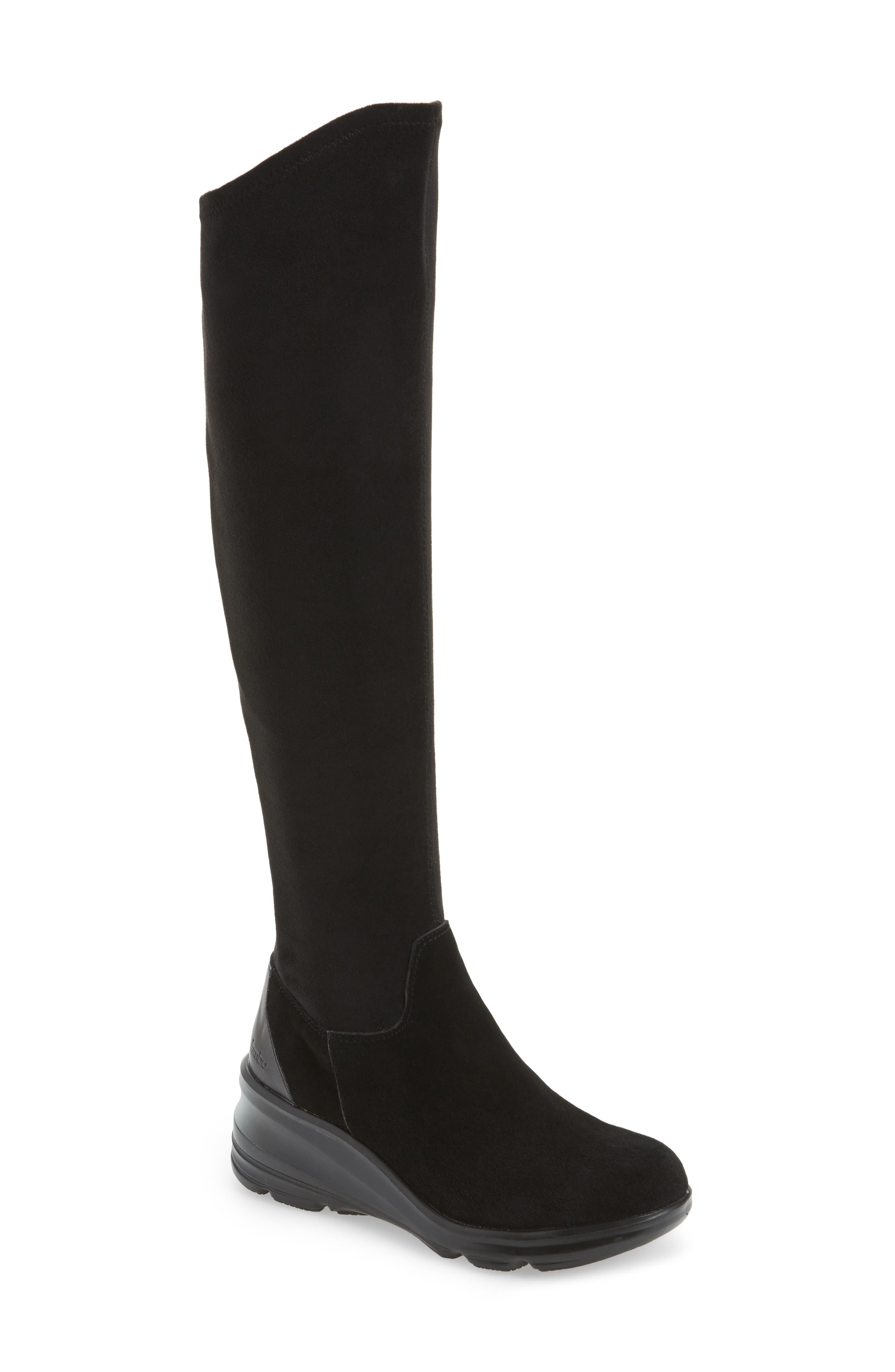 Kendra Over the Knee Water-Resistant Boot,                             Main thumbnail 1, color,                             001
