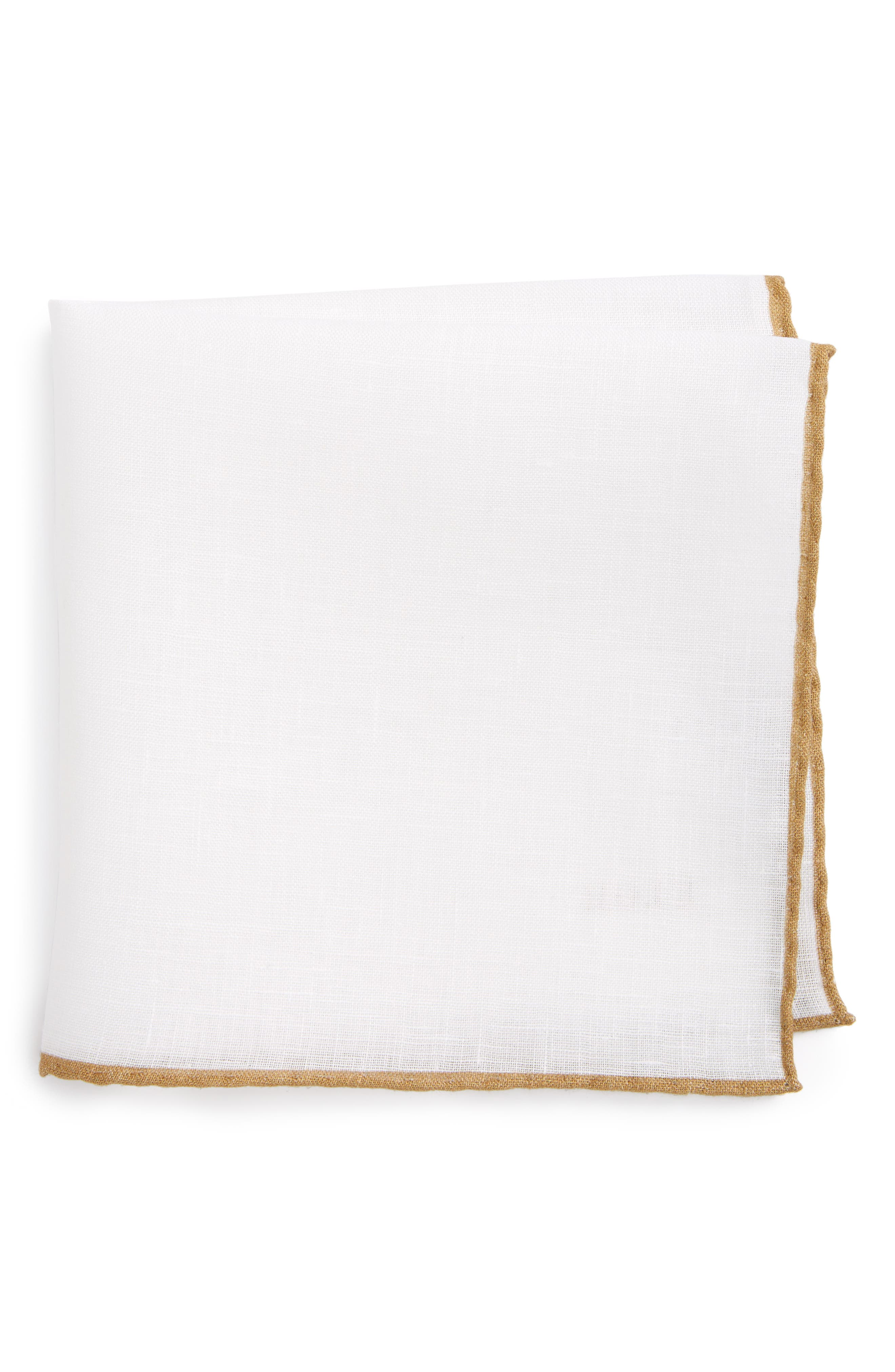 Solid Linen Pocket Square,                         Main,                         color, TAUPE