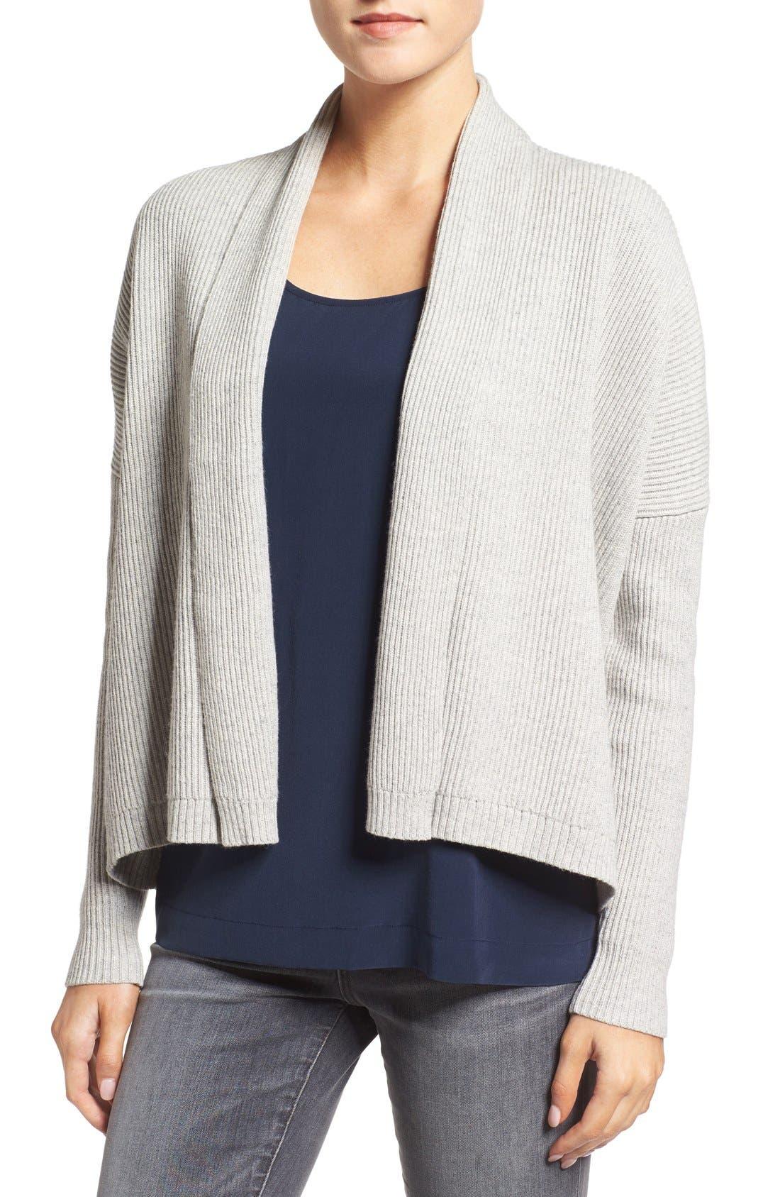 MADEWELL Ribbed Shawl Collar Cardigan, Main, color, 022