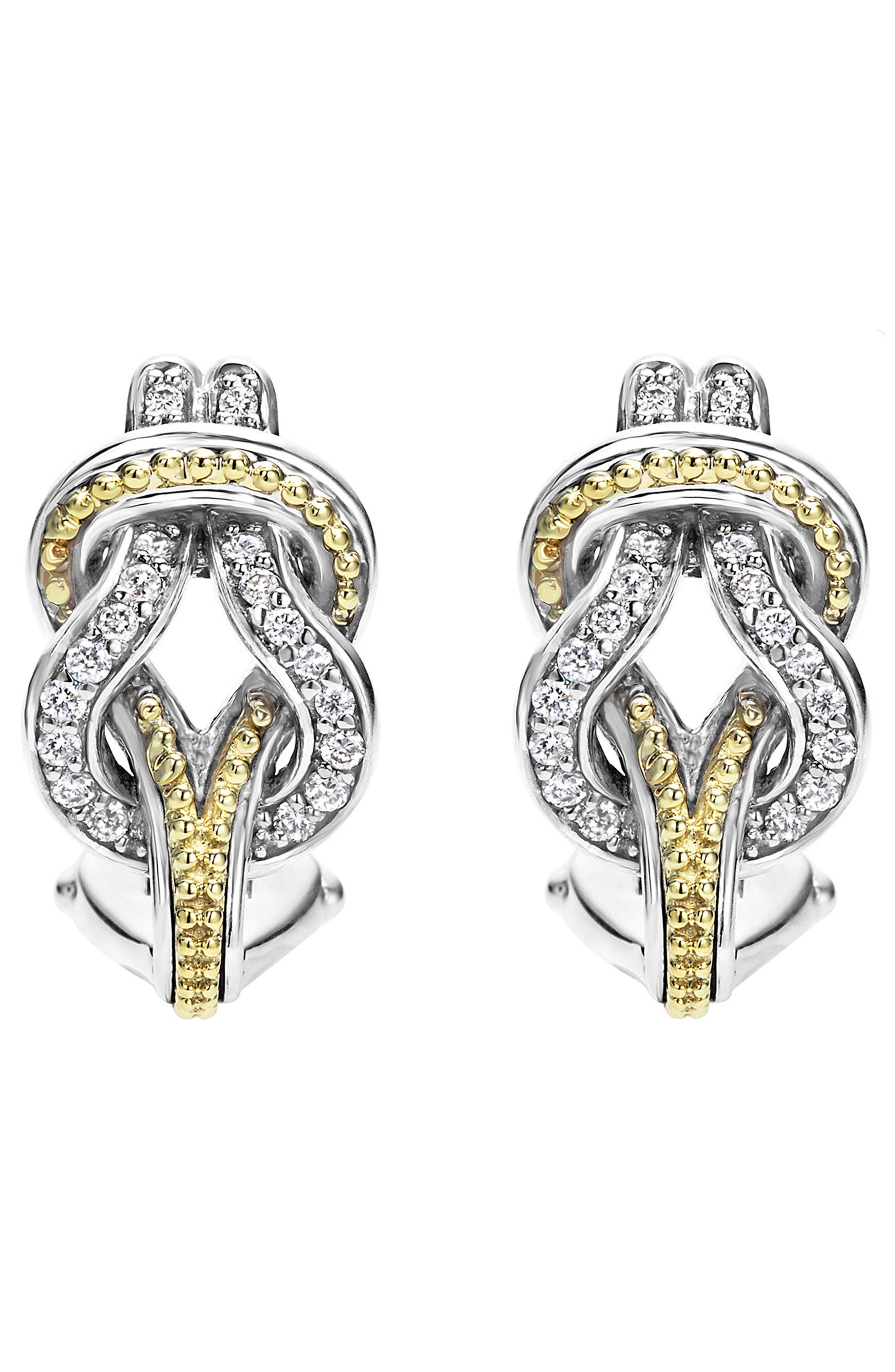 'Newport' Diamond Knot Earrings,                             Alternate thumbnail 3, color,                             SILVER/ GOLD