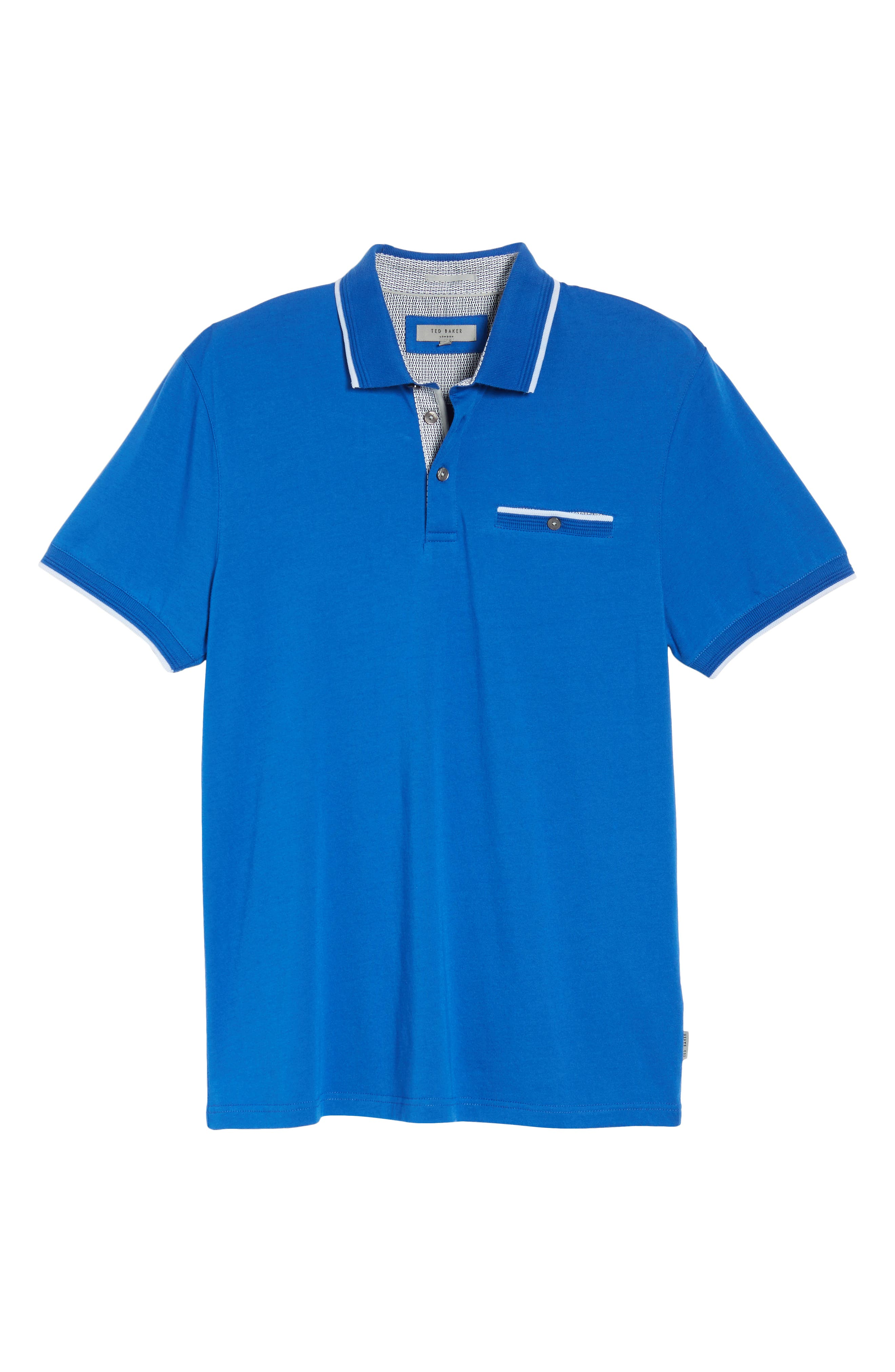 Derry Modern Slim Fit Polo,                             Alternate thumbnail 6, color,                             BRIGHT BLUE
