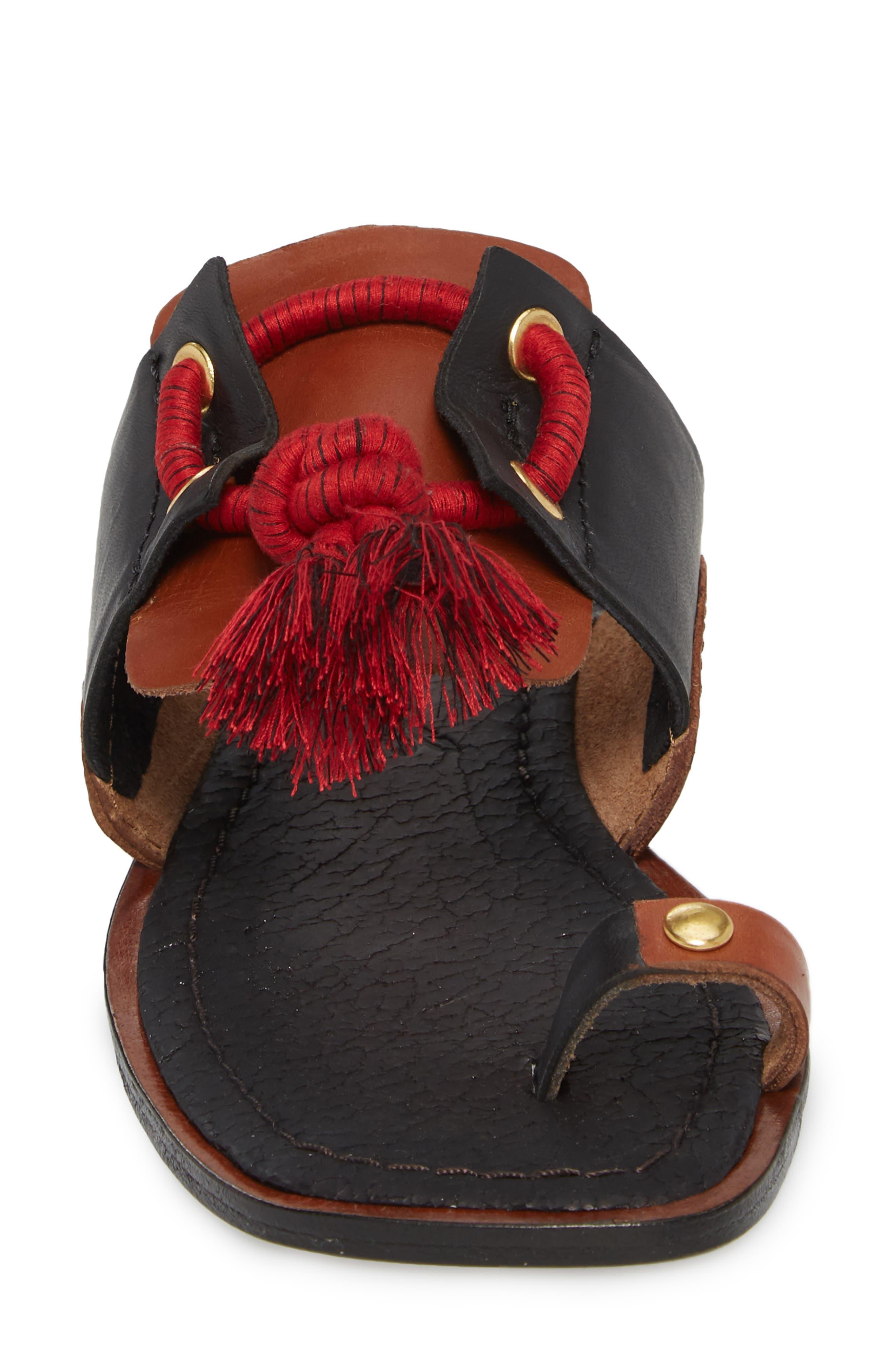 Maui Tasseled Slide Sandal,                             Alternate thumbnail 4, color,                             001
