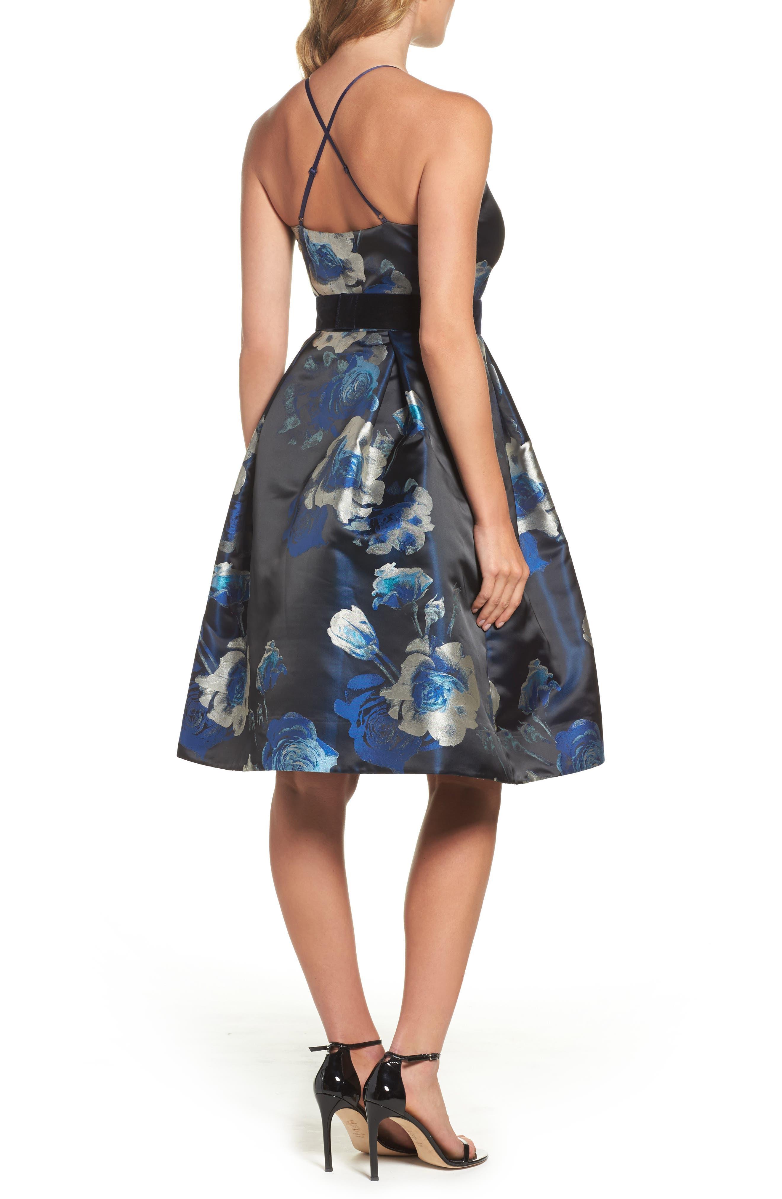 Jacquard Fit & Flare Dress,                             Alternate thumbnail 2, color,                             004