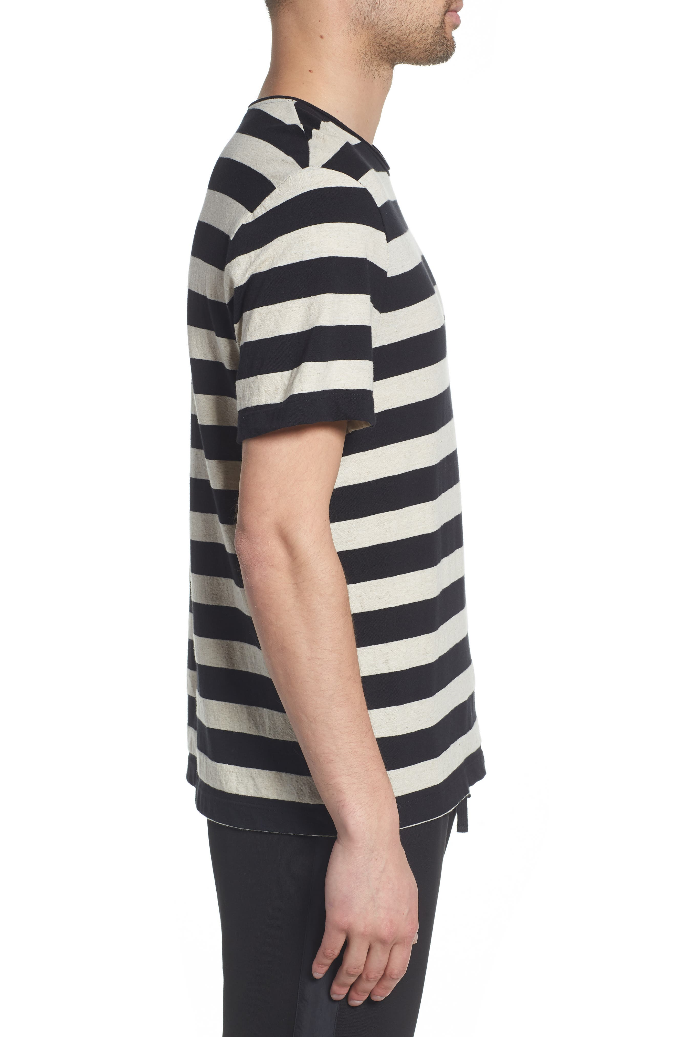 Stripe Regular Fit Shirt,                             Alternate thumbnail 3, color,                             LINEN/ BLACK
