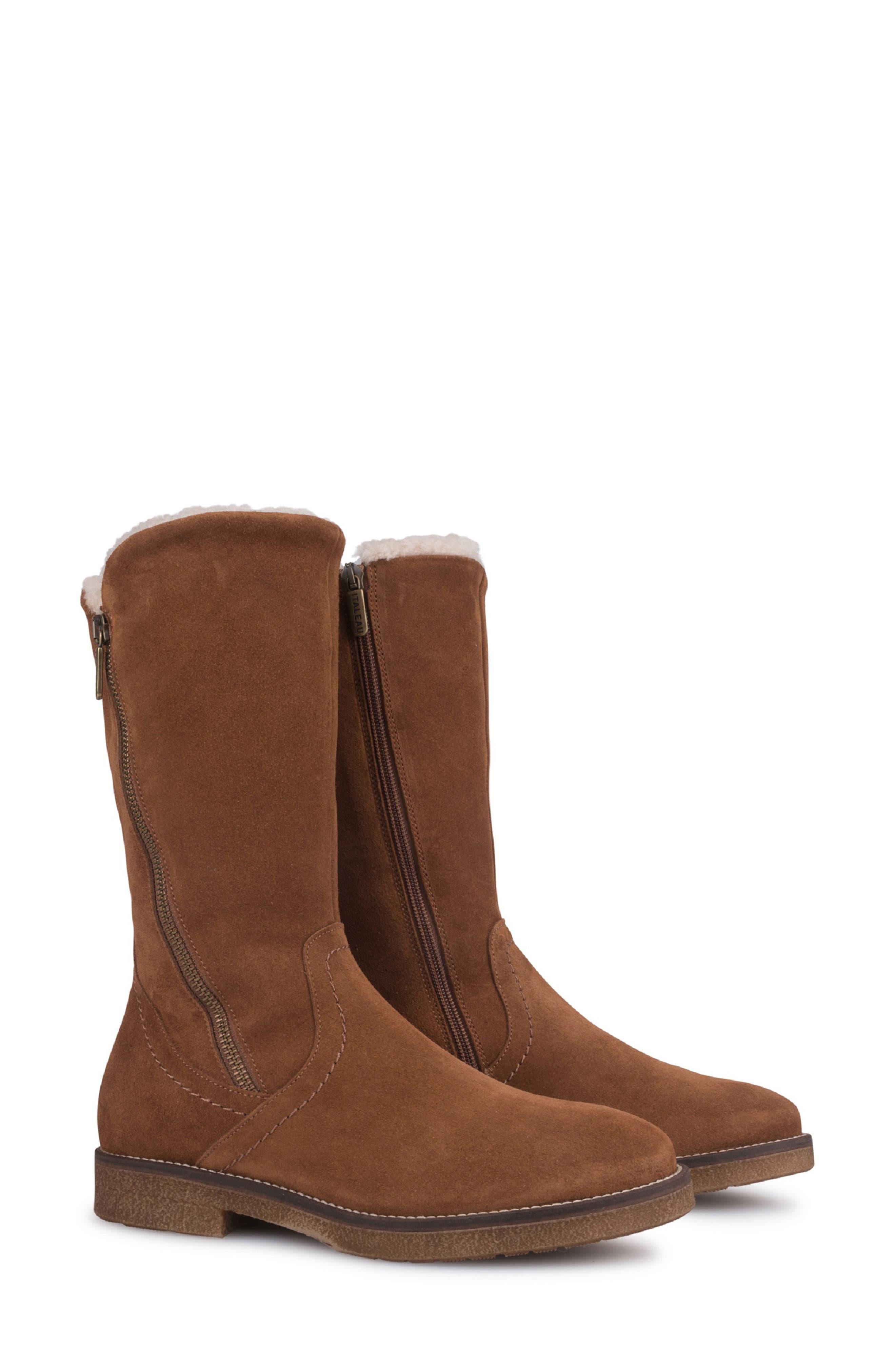 Italeau Karah Genuine Shearling Lined Waterproof Boot - Brown
