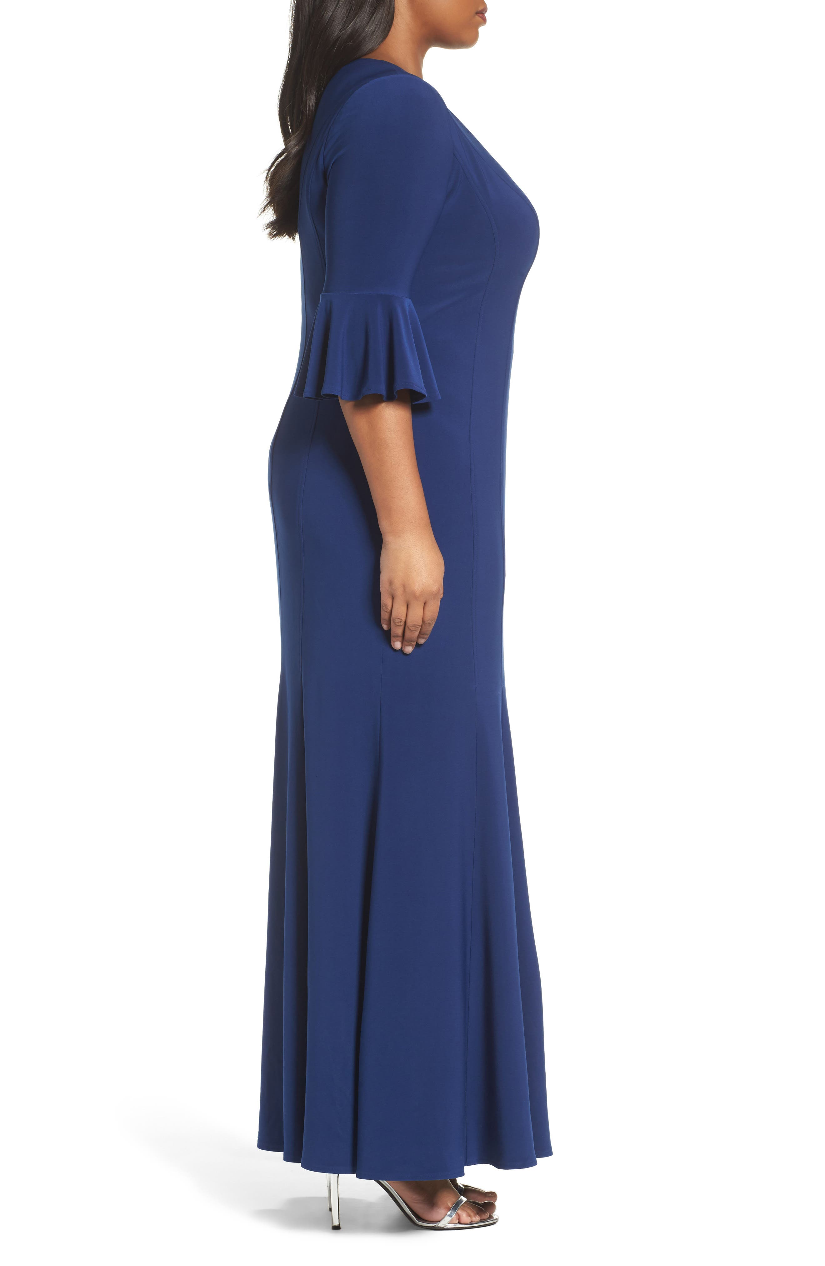 Fit & Flare Gown,                             Alternate thumbnail 3, color,                             406