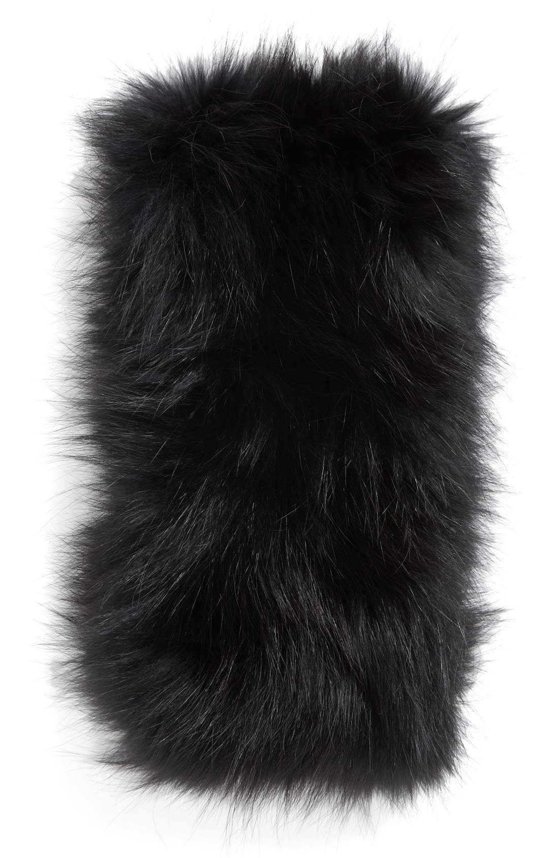 Genuine Fox Fur Cowl Collar,                             Alternate thumbnail 2, color,                             001