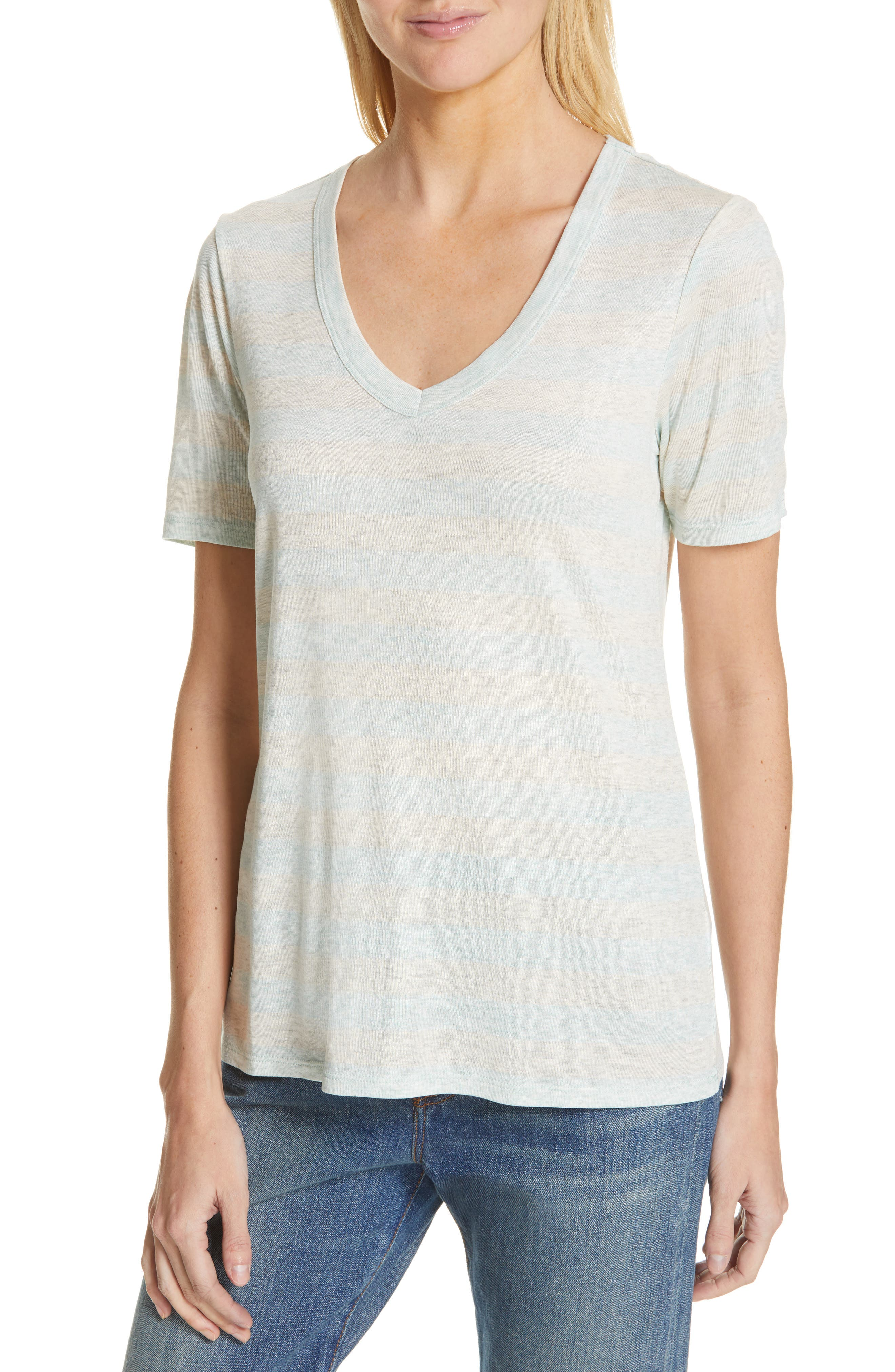 V-Neck Tee,                             Main thumbnail 1, color,                             GREY- BLUE EVEN STRIPE