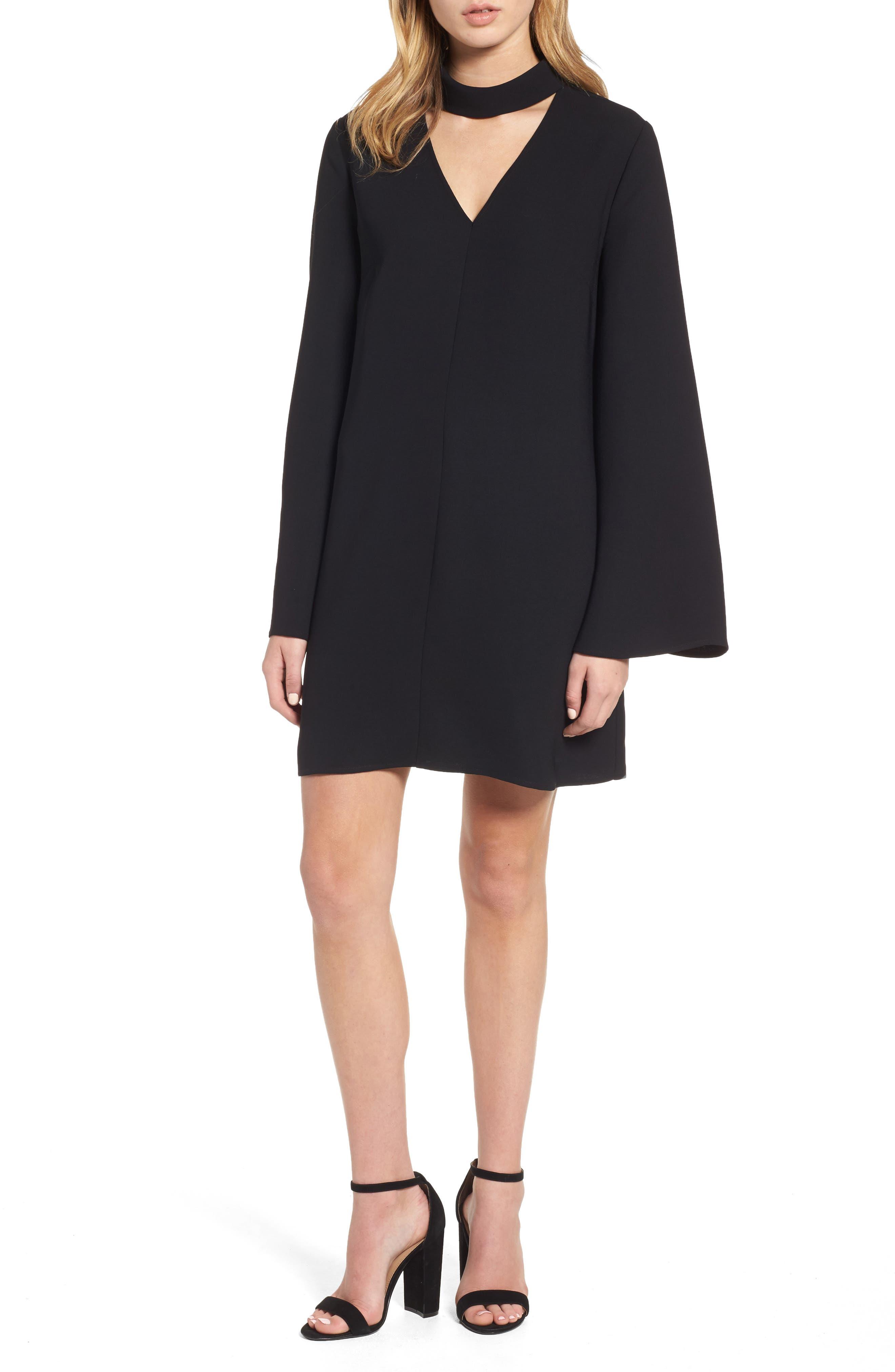 Choker Bell Sleeve Dress,                         Main,                         color, 001