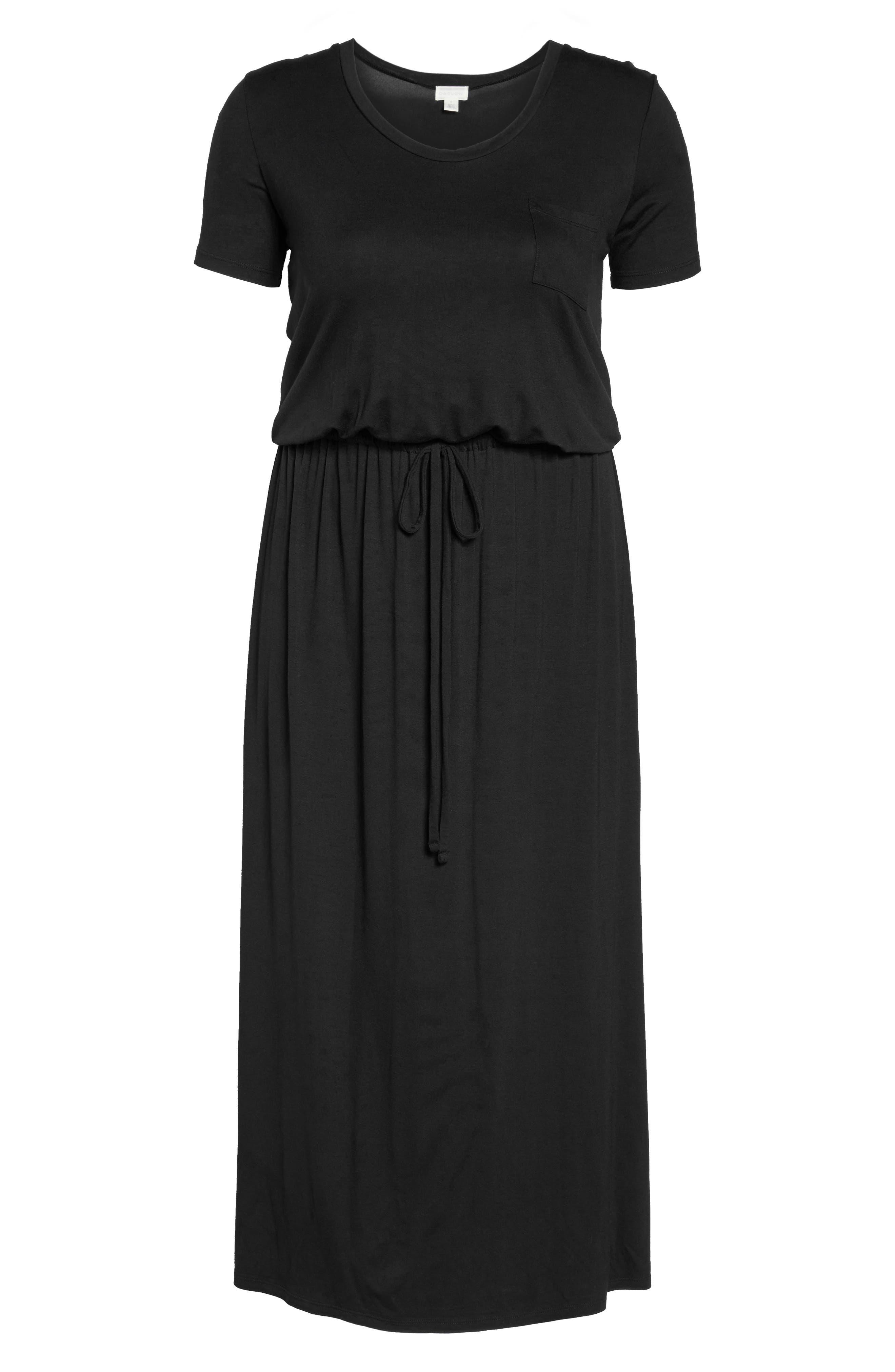 Knit Drawstring Waist Maxi Dress,                             Alternate thumbnail 6, color,                             BLACK