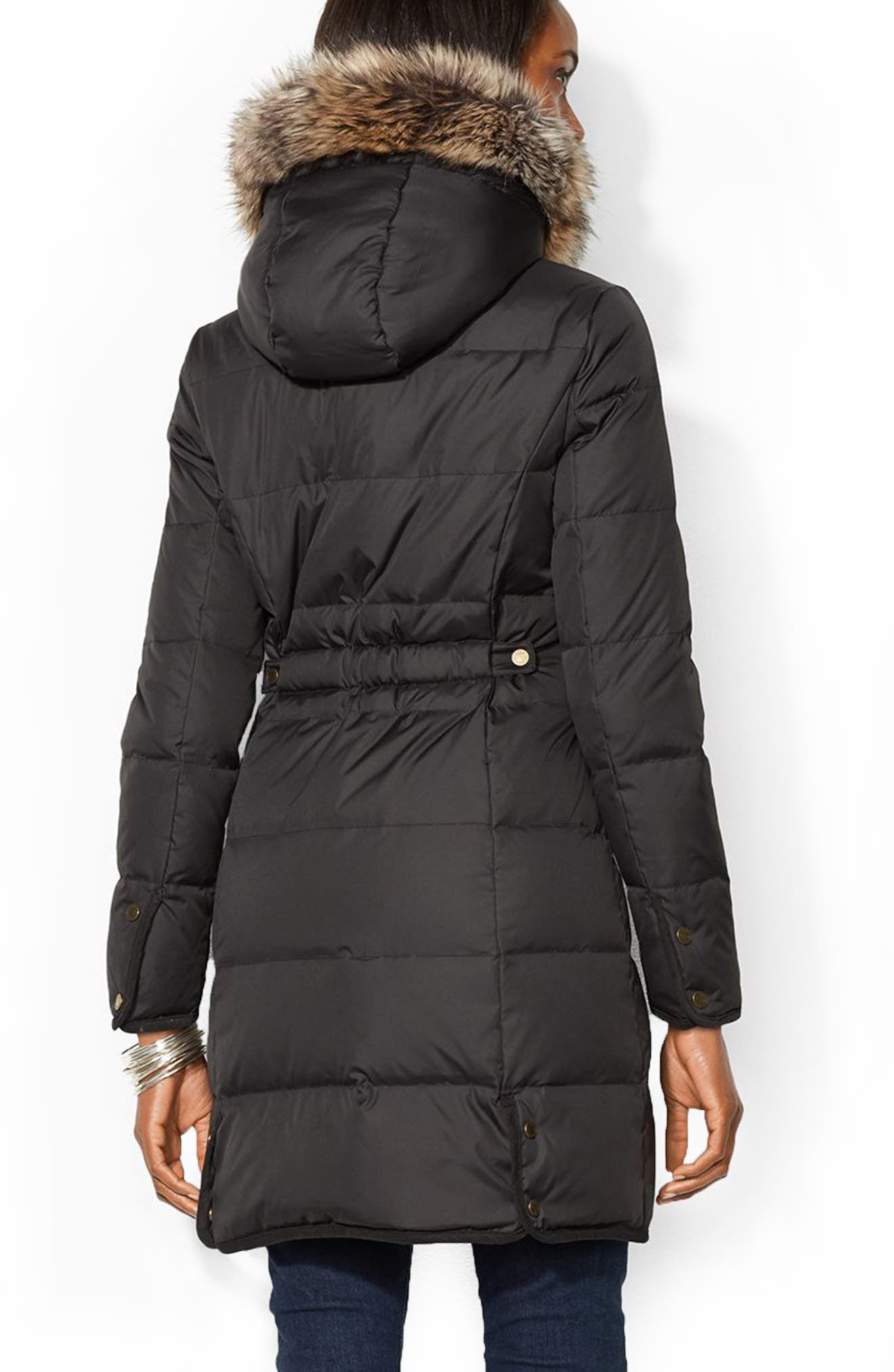 Quilted Down & Feather Jacket with Faux Fur Trim,                             Alternate thumbnail 2, color,                             001