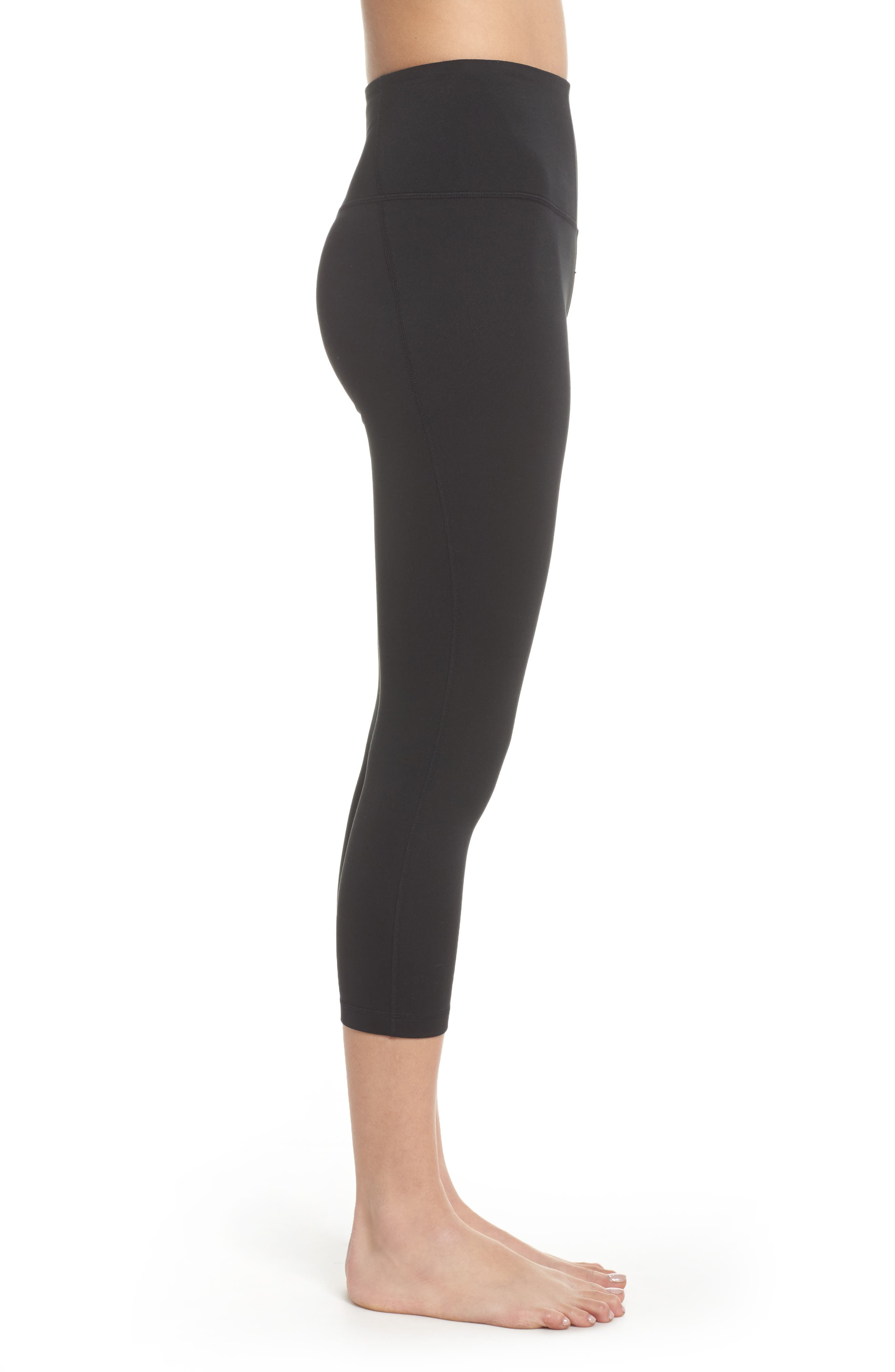 Live In High Waist Crop Leggings,                             Alternate thumbnail 3, color,                             001