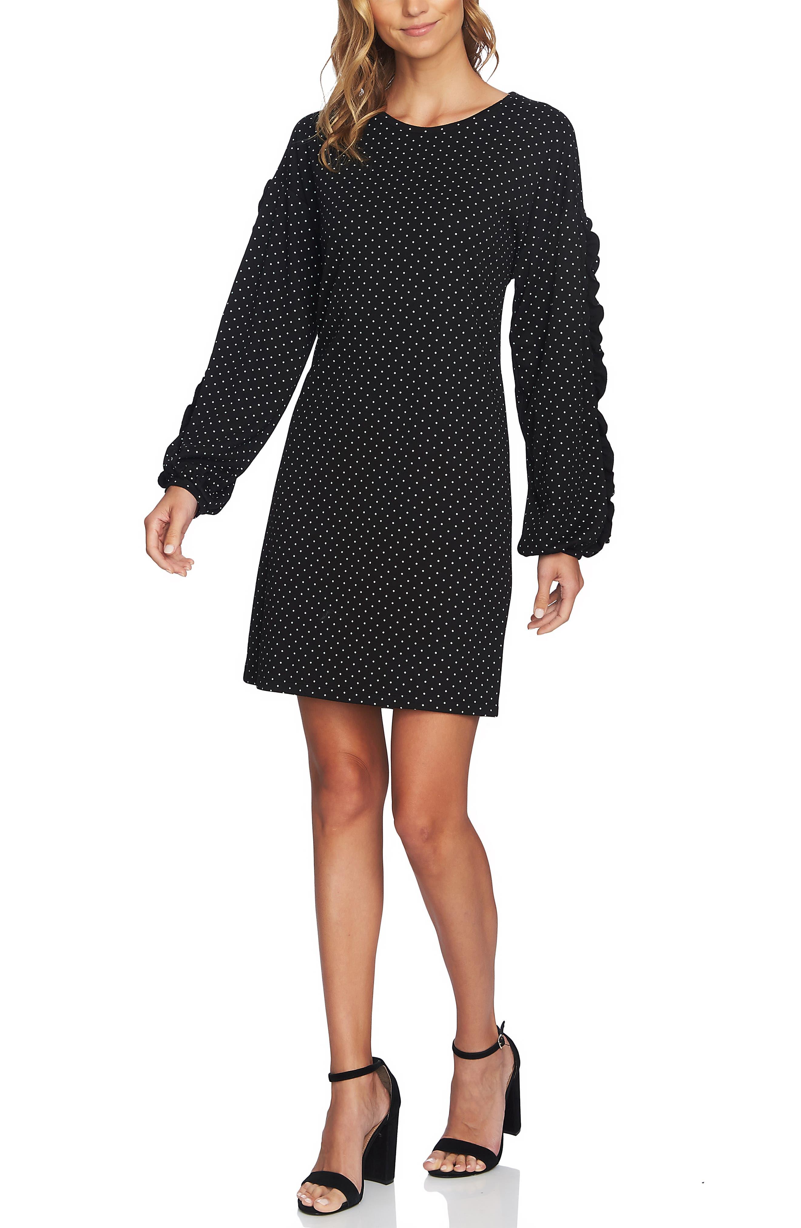 Pin Dot Ruffle Sleeve Dress,                             Alternate thumbnail 7, color,                             RICH BLACK