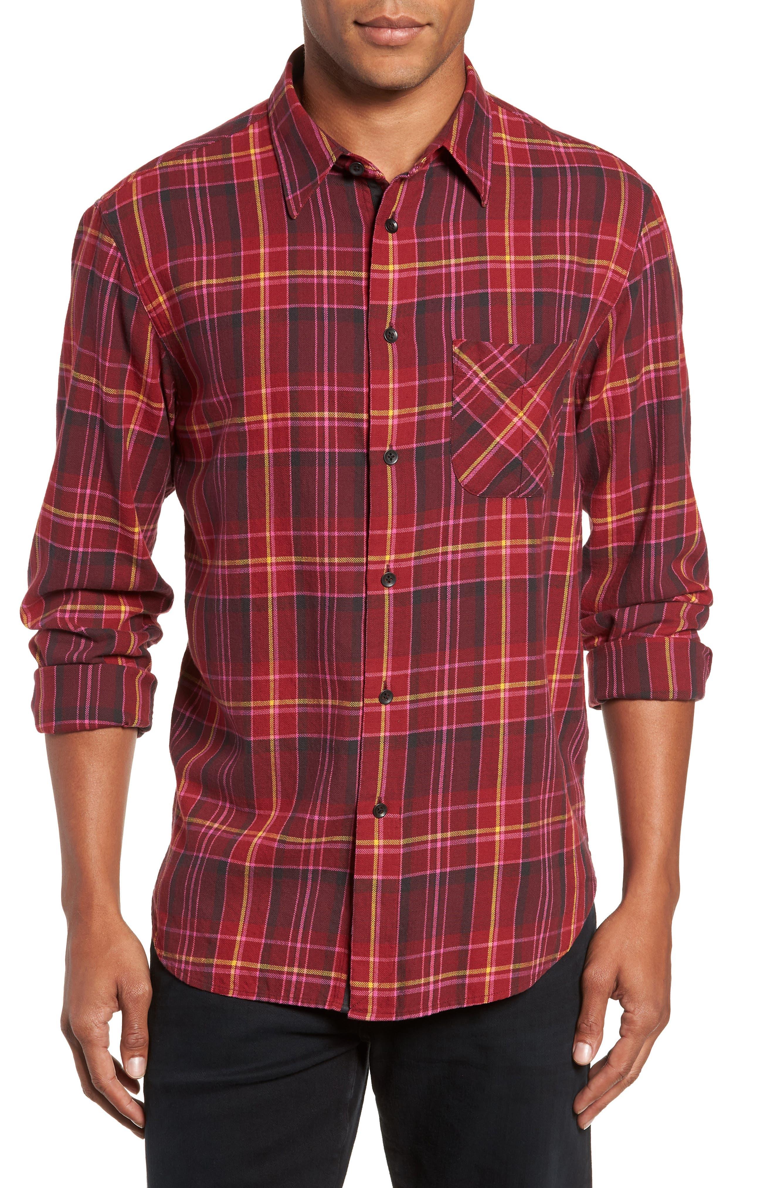 Fit 3 Plaid Classic Beach Shirt,                         Main,                         color, BURGUNDY