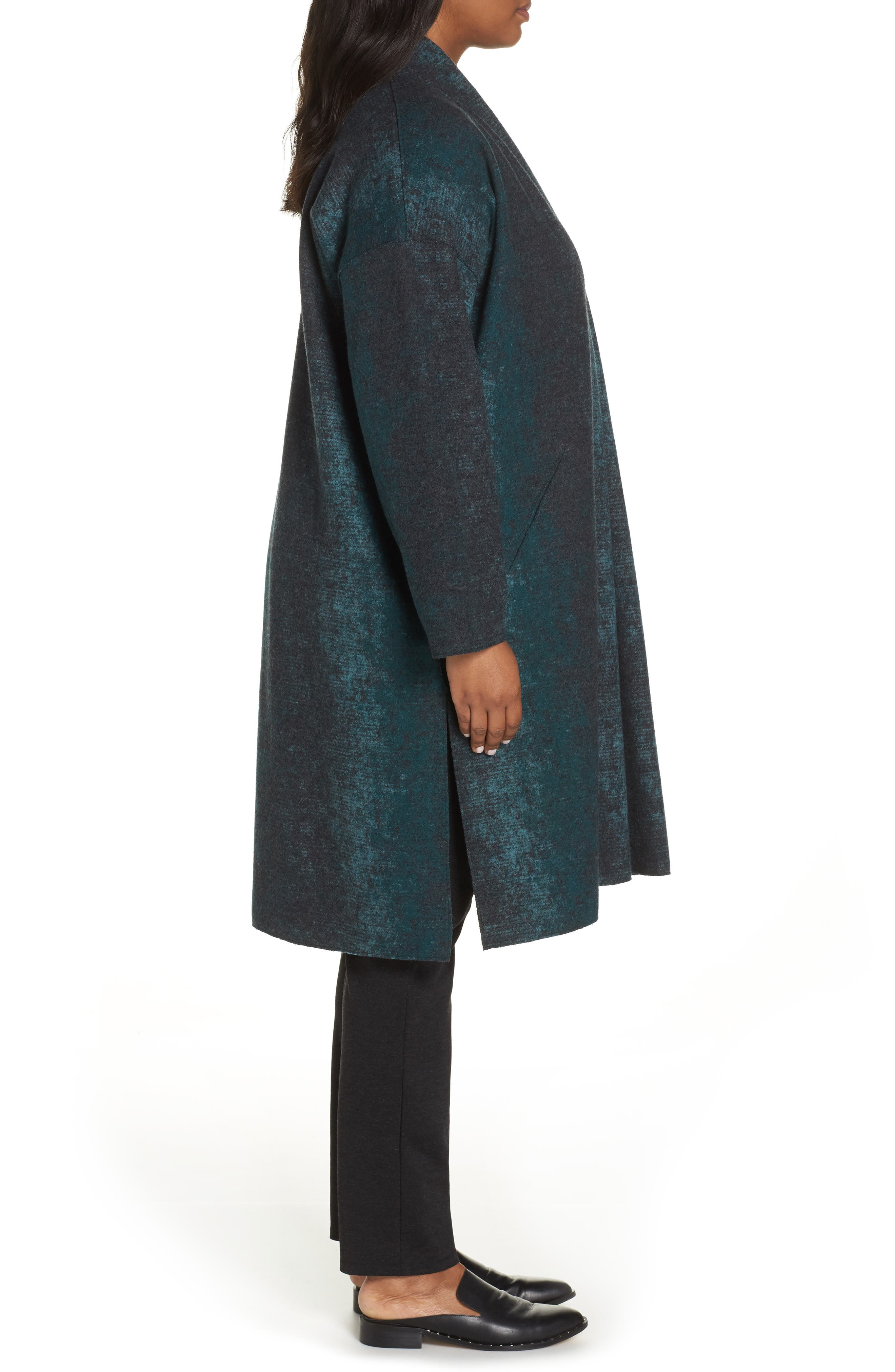 Long Wool Blend Kimono Jacket,                             Alternate thumbnail 3, color,                             PINE