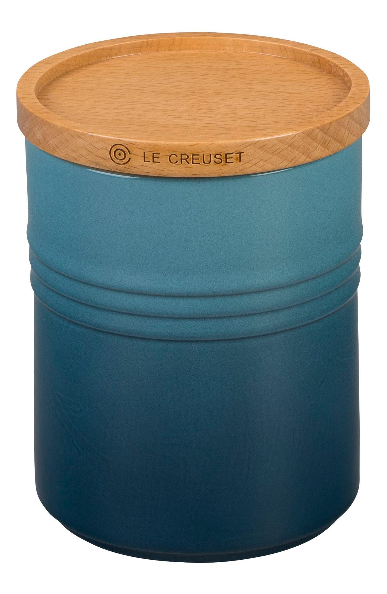 Glazed 22 Ounce Stoneware Storage Canister with Wooden Lid,                         Main,                         color, MARINE