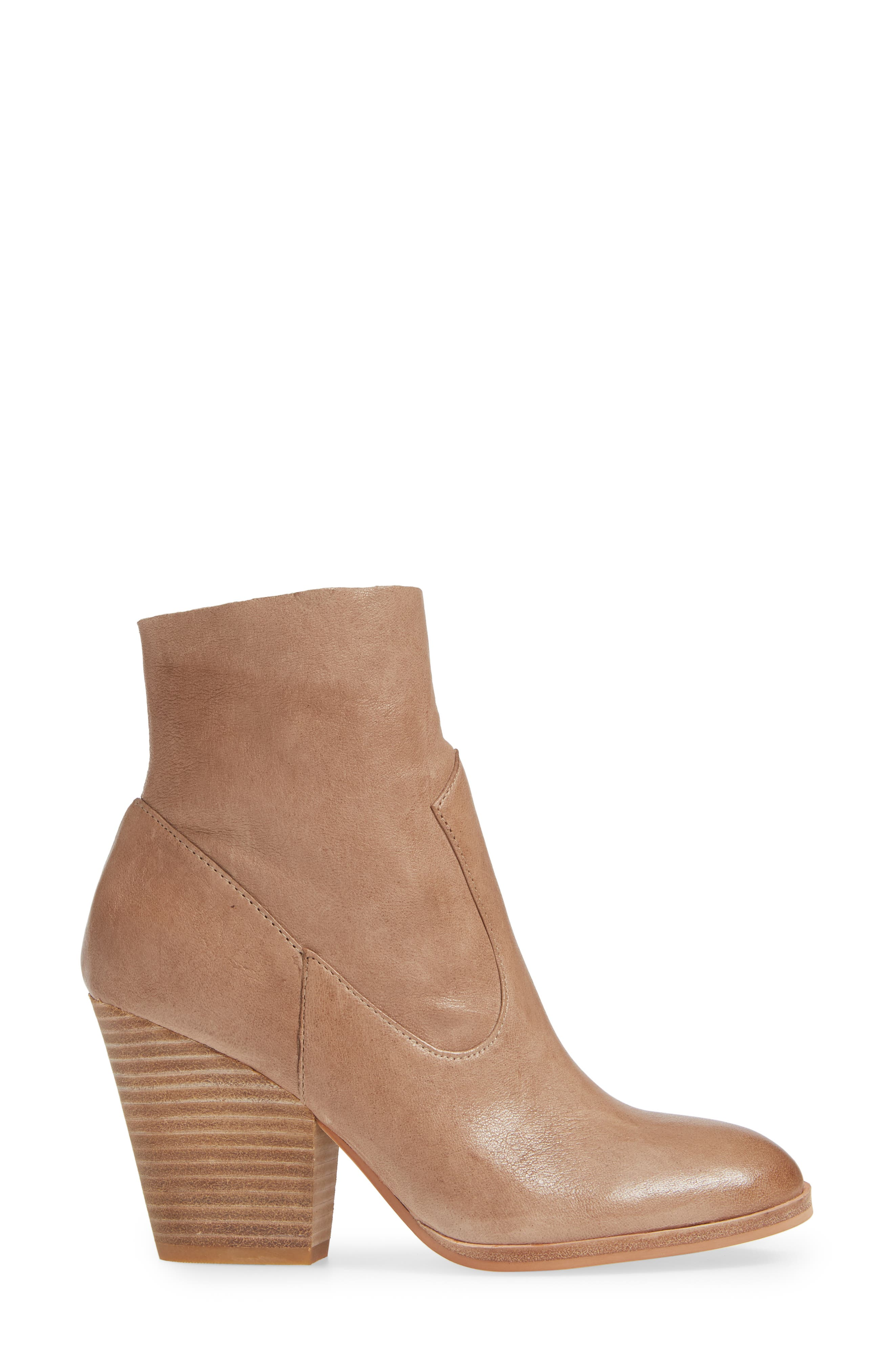 Isola Lani Block Heel Bootie,                             Alternate thumbnail 3, color,                             LIGHT TAUPE LEATHER