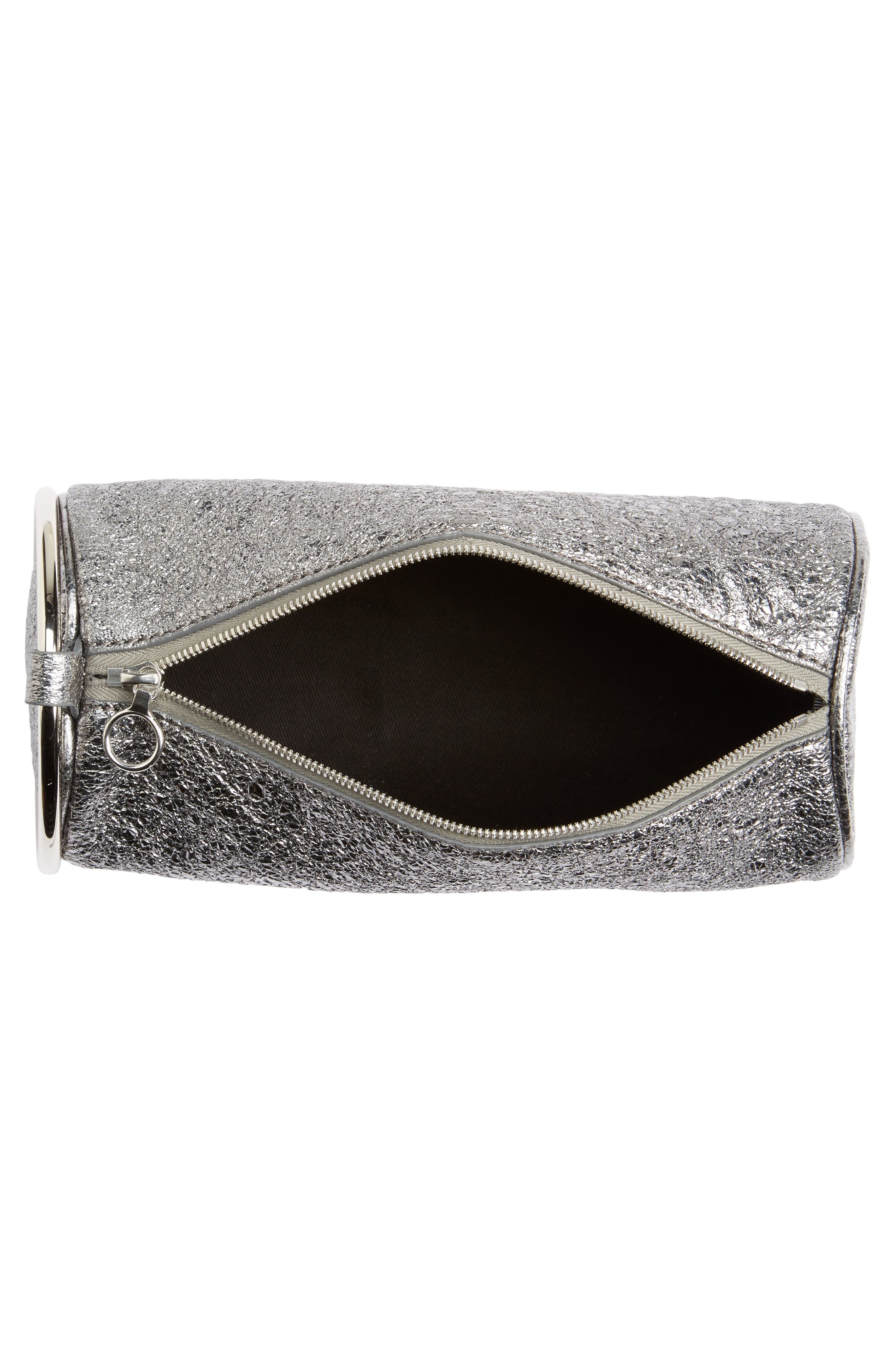 Crinkled Metallic Leather Duffel Wristlet Clutch,                             Alternate thumbnail 4, color,