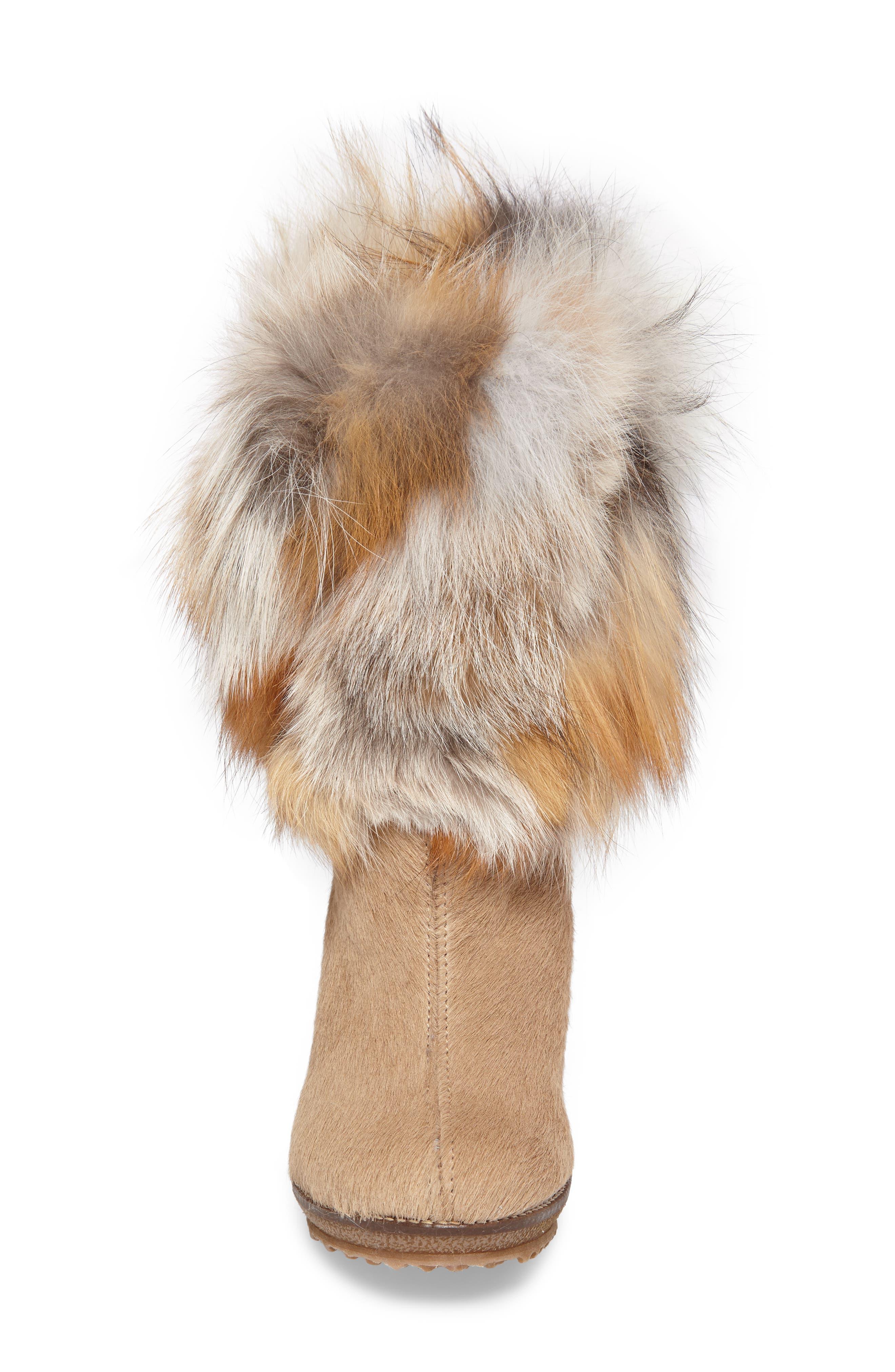 Angelina Genuine Fox Fur Wedge Boot,                             Alternate thumbnail 16, color,