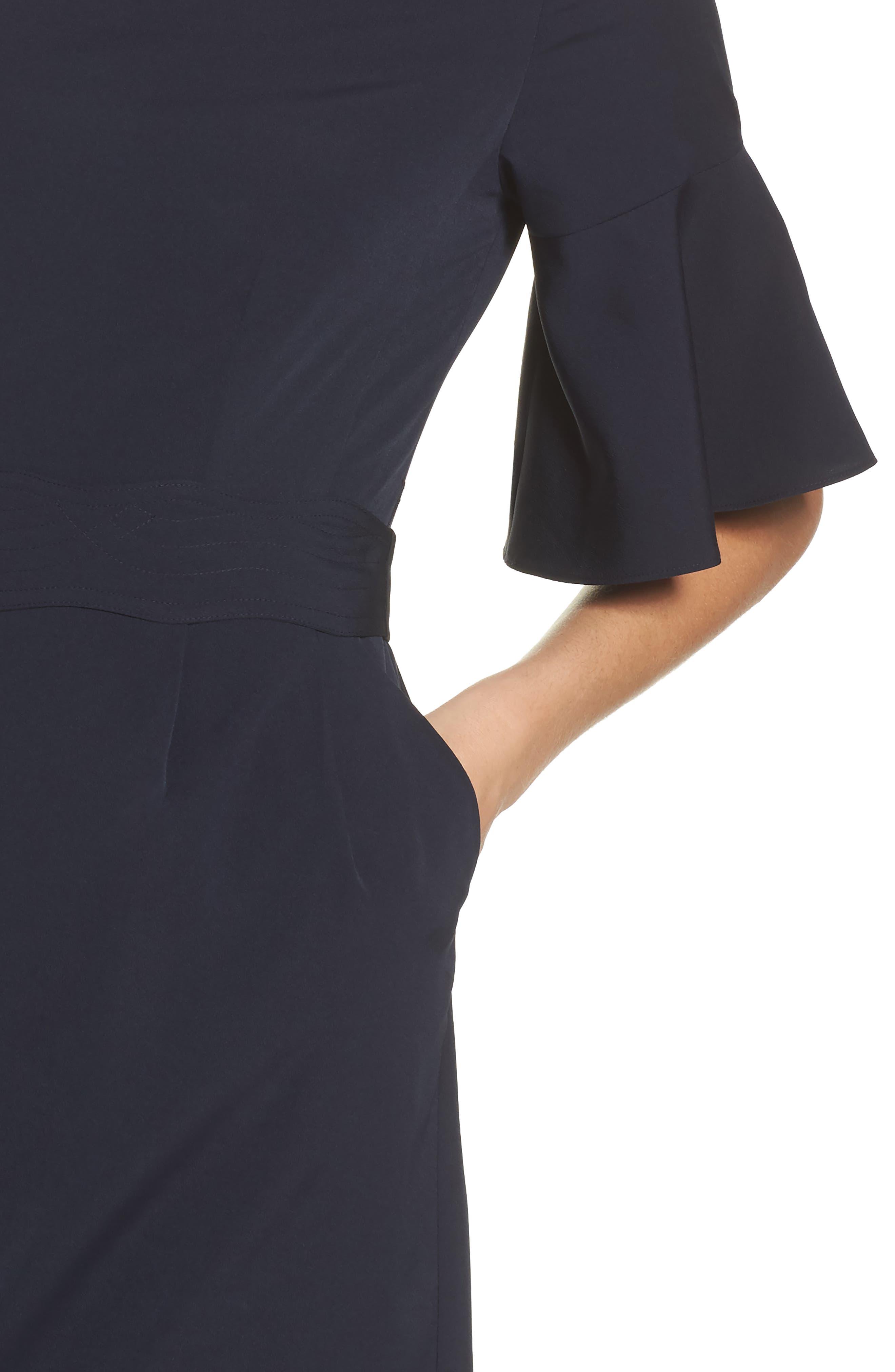 Bell Sleeve Sheath Dress,                             Alternate thumbnail 4, color,                             410