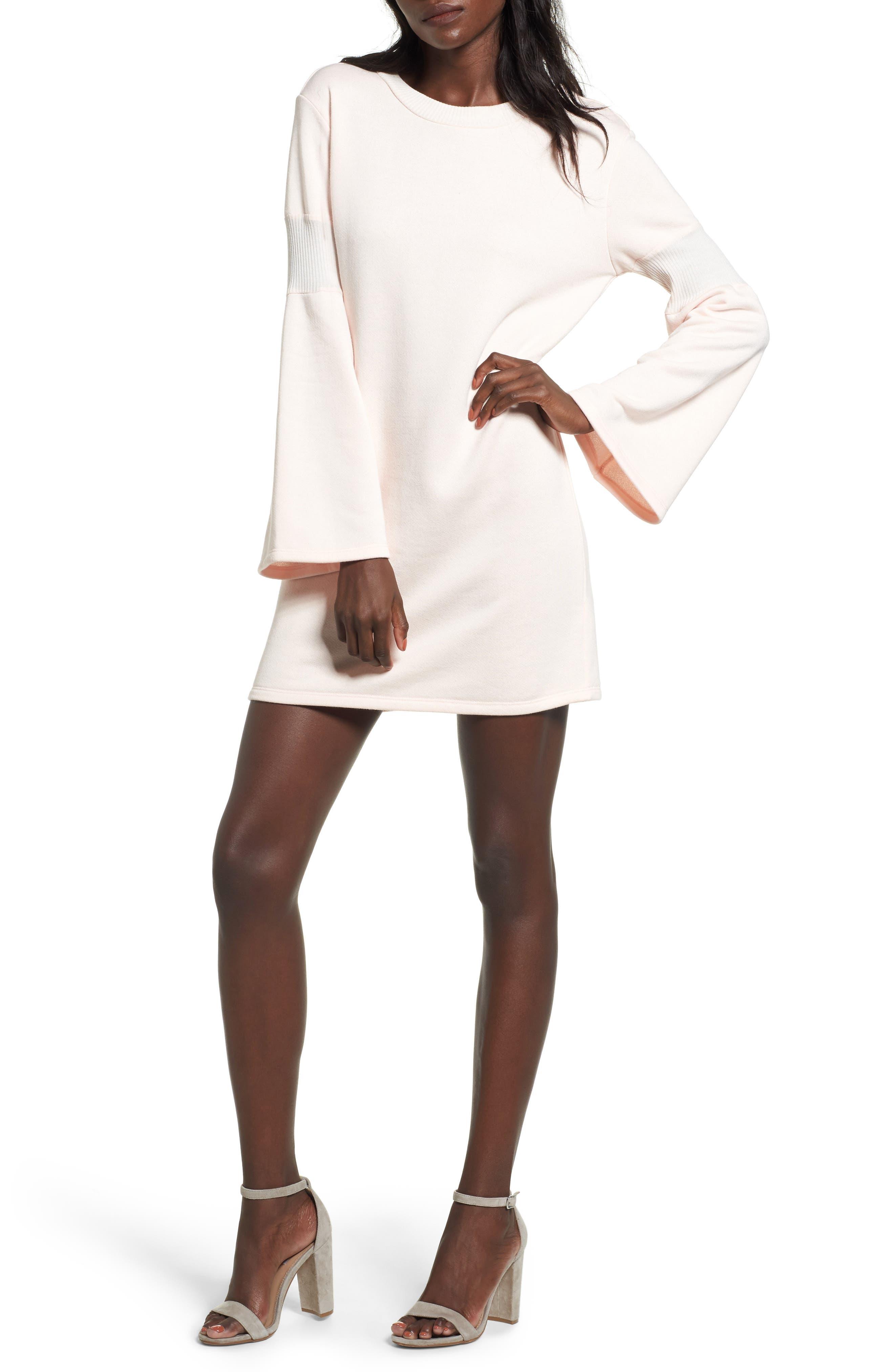 Bell Sleeve Sweatshirt Dress,                             Main thumbnail 2, color,