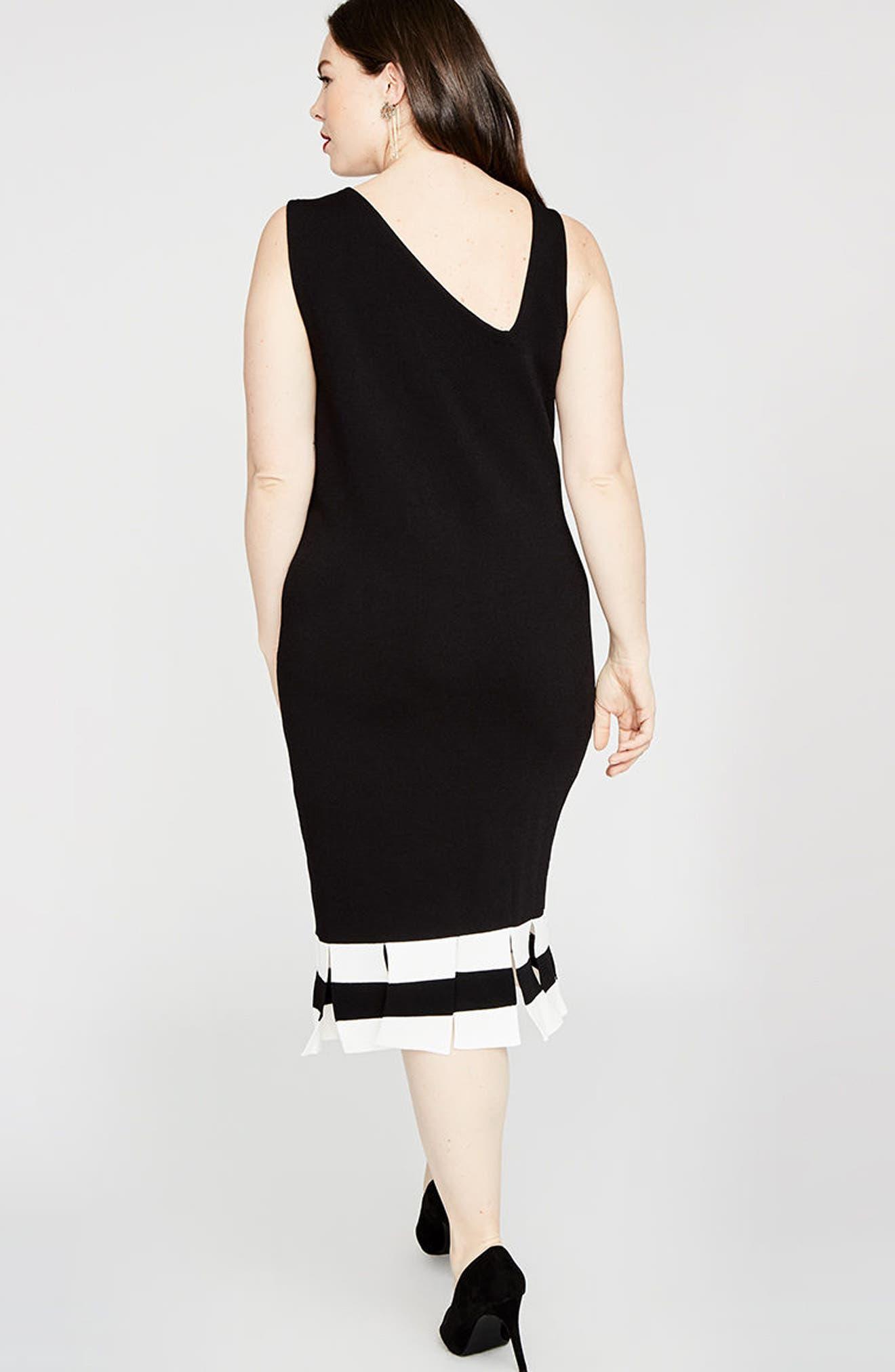 Stripe Carwash Hem Dress,                             Alternate thumbnail 5, color,                             001