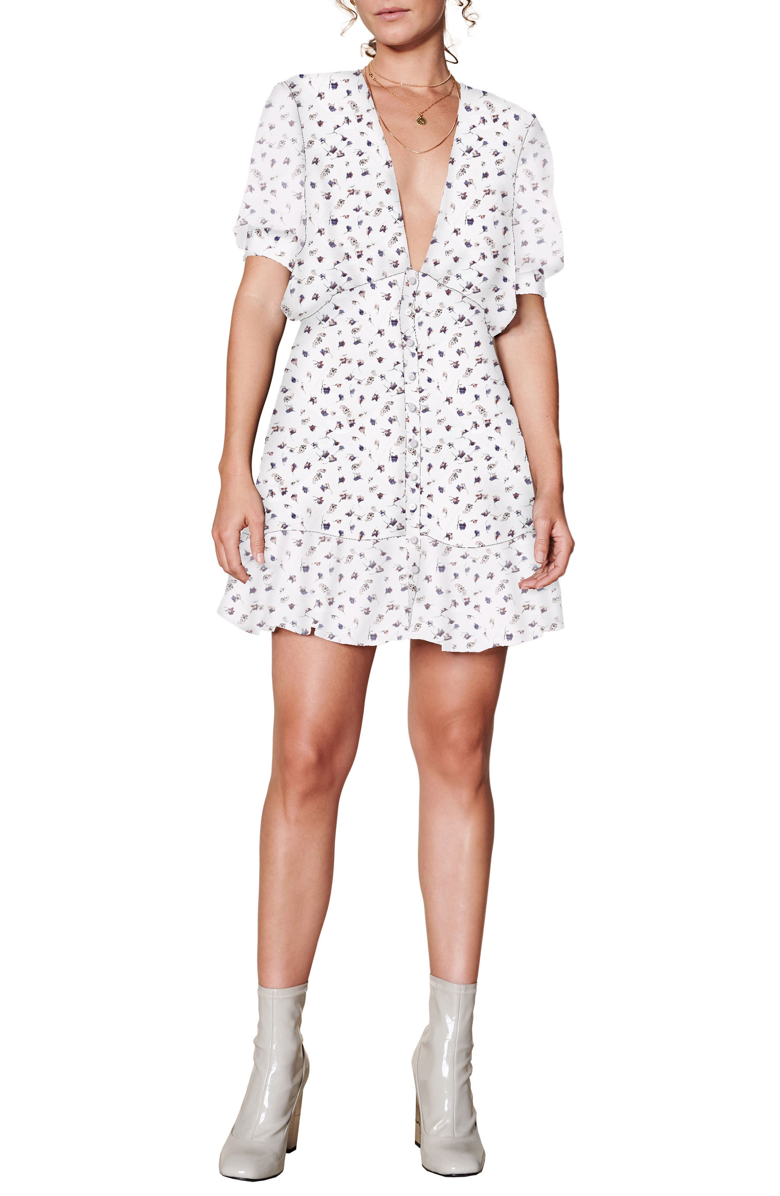 Mabel Minidress,                         Main,                         color, WHITE BASE FLORAL PRINT