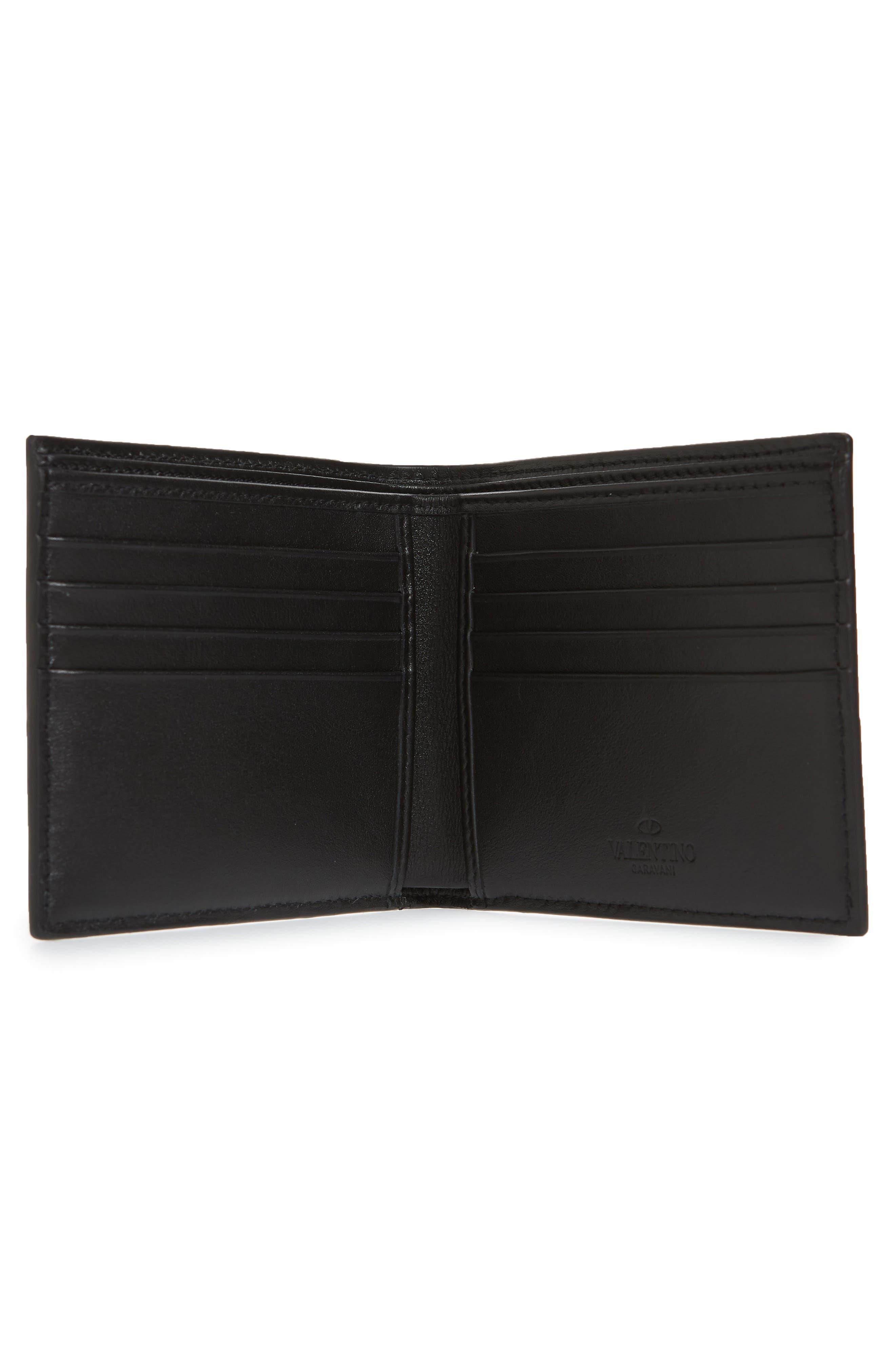 GARAVANI V-Logo Leather Wallet,                             Alternate thumbnail 2, color,                             BLACK WHITE