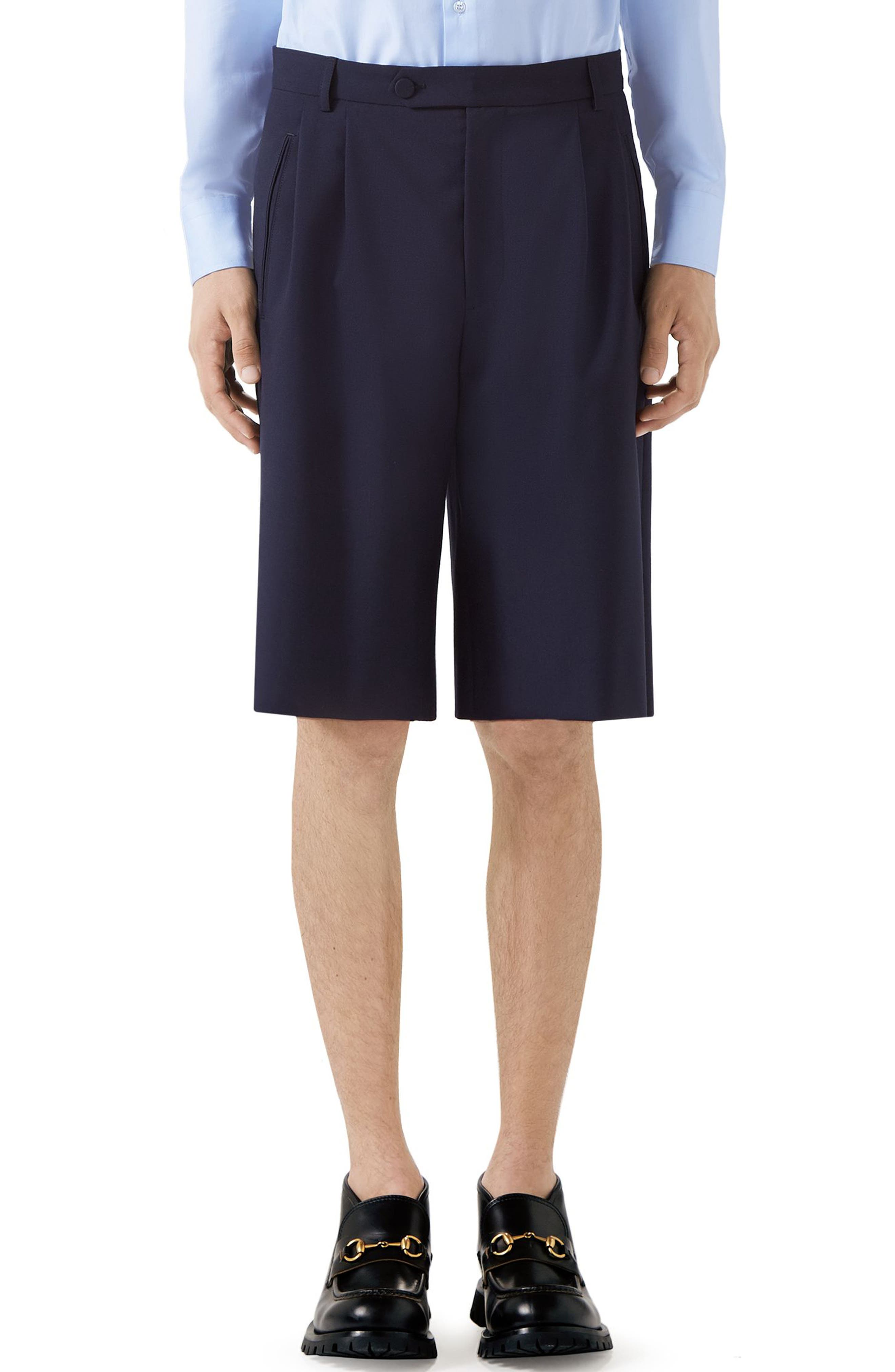 Men'S Pleated-Front Bermuda Shorts in Blue Japan